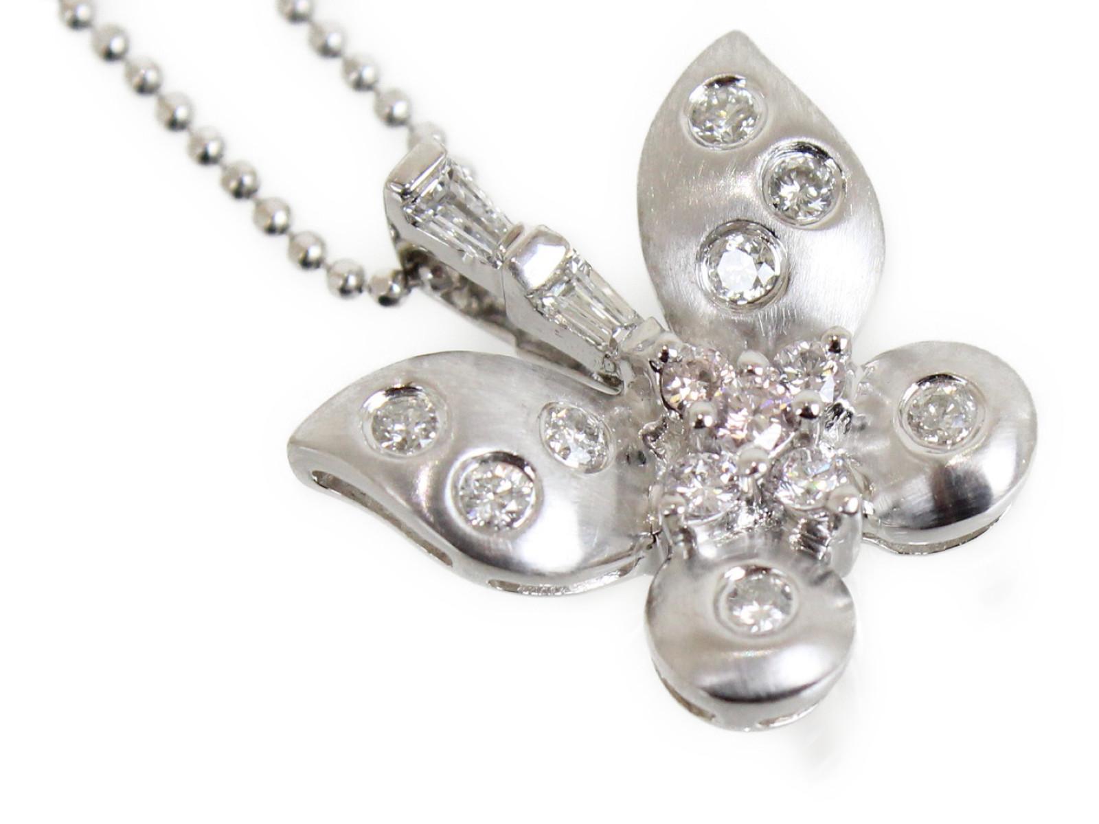 バタフライネックレスダイヤモンド0.33ctK18WG 4g 41cmシンプル カワイイレディース ギフト包装可【中古】