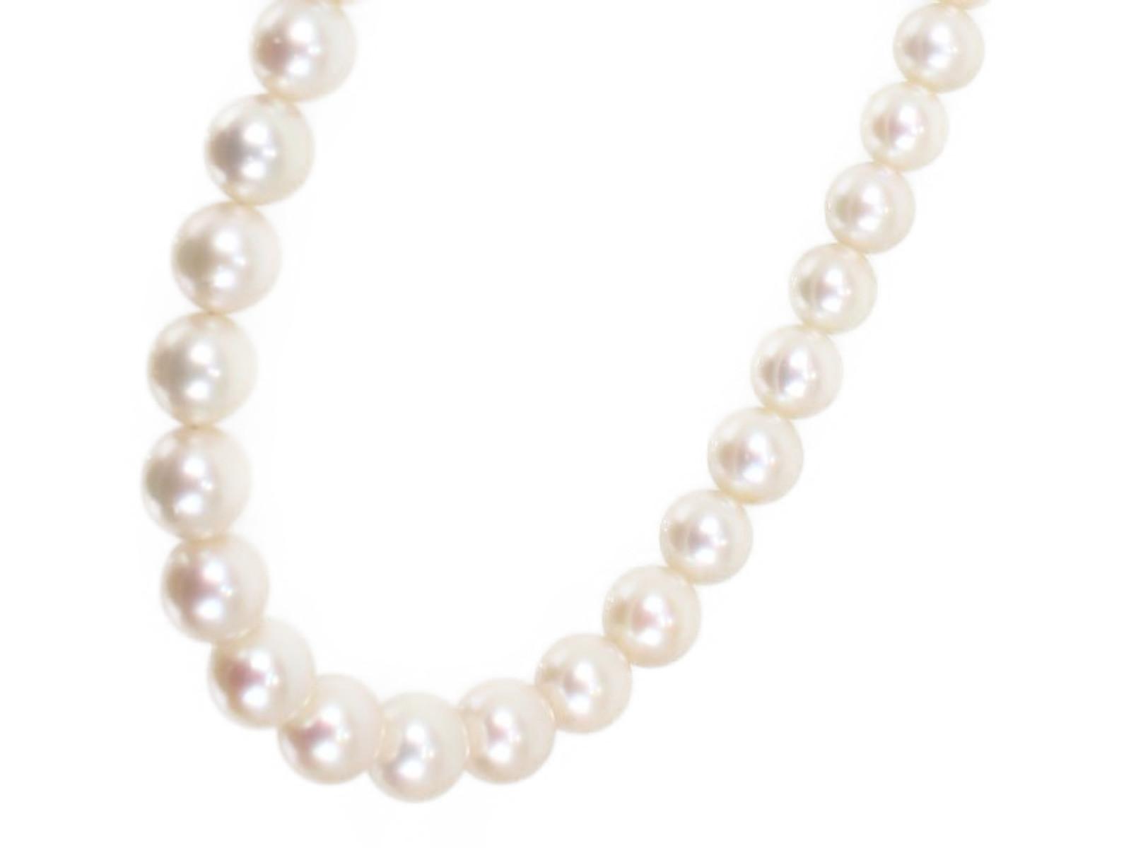 天然真珠ネックレスK14WG 約7.3mm 31.8g 41cm上品 ホワイトパール ギフト包装可【中古】