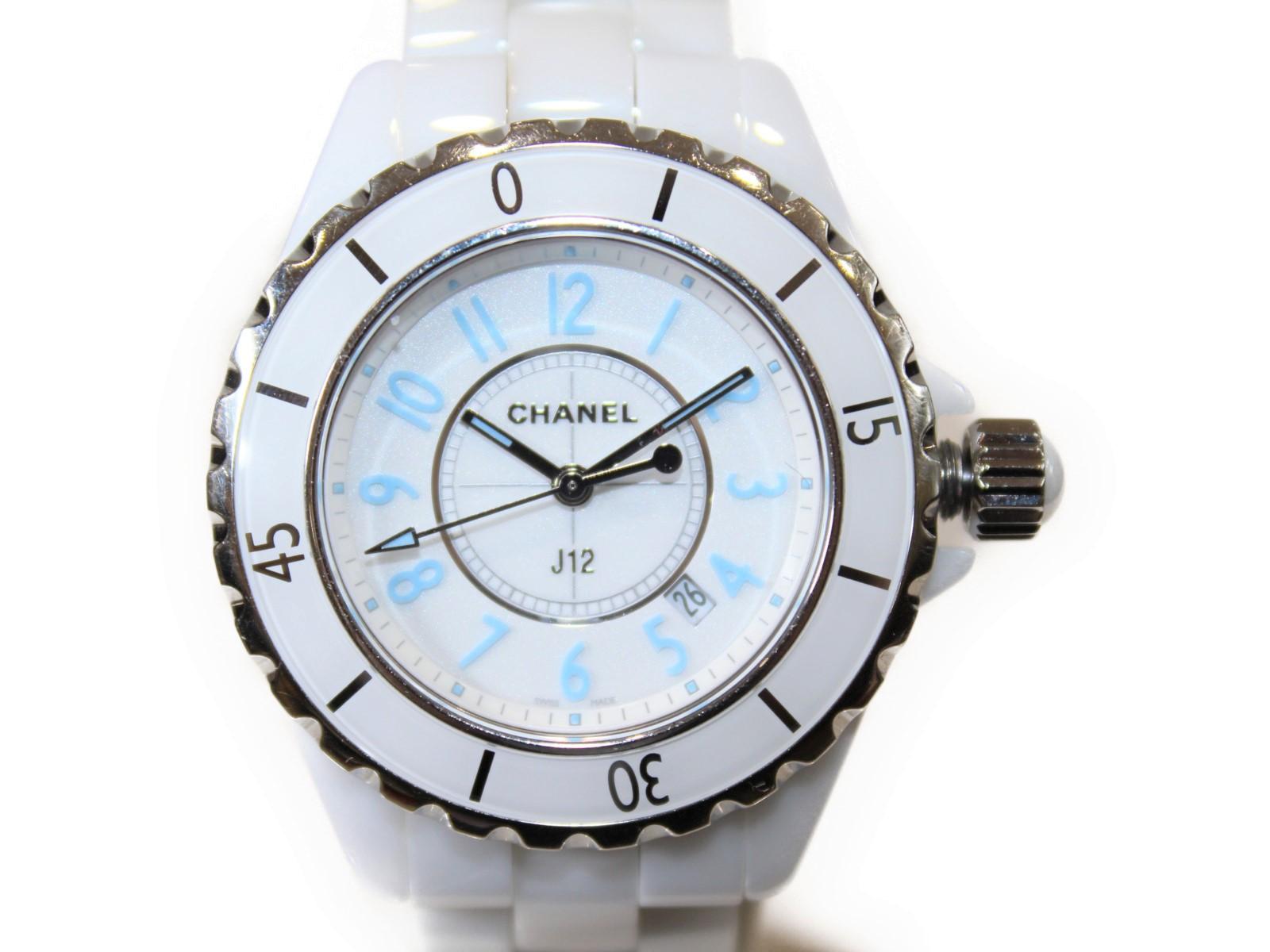 【世界限定2000本】CHANEL シャネル J12 ブルーライトリミテッド H3826 セラミック ブルー ホワイト レディース 腕時計 【中古】