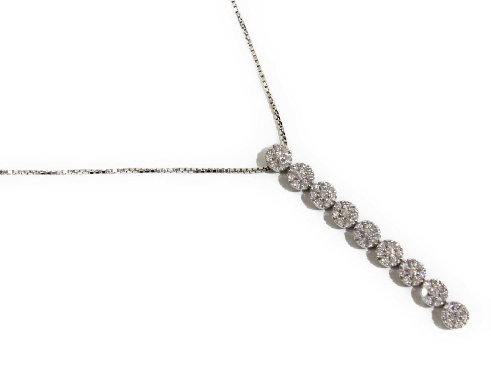 【箱・保証書あり】DAMIANI ダミアーニ ダイヤモンド ネックレス ペンダント K18 WG 750 刻印あり 約51cm 上品 ゴージャス 高級 プレゼント レディース【中古】