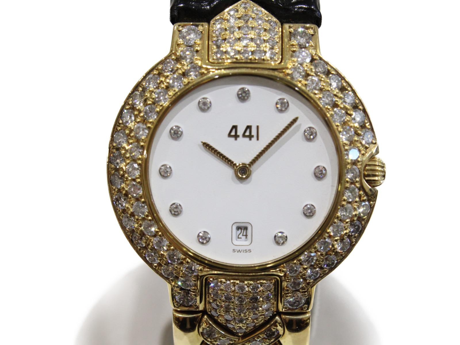 GianniVersace ジャンニ ヴェルサーチ クオーツ デイト 金無垢 K18 イエローゴールド ダイヤモンド164P 革ベルト メンズ 腕時計【中古】