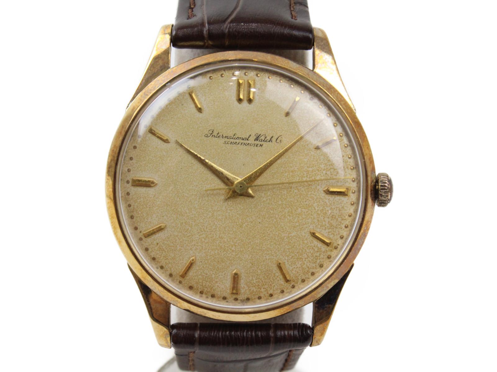 【アンティーク】IWC アイダブルシー シャフハウゼン 手巻き K18 イエローゴールド 革ベルト メンズ 腕時計【中古】