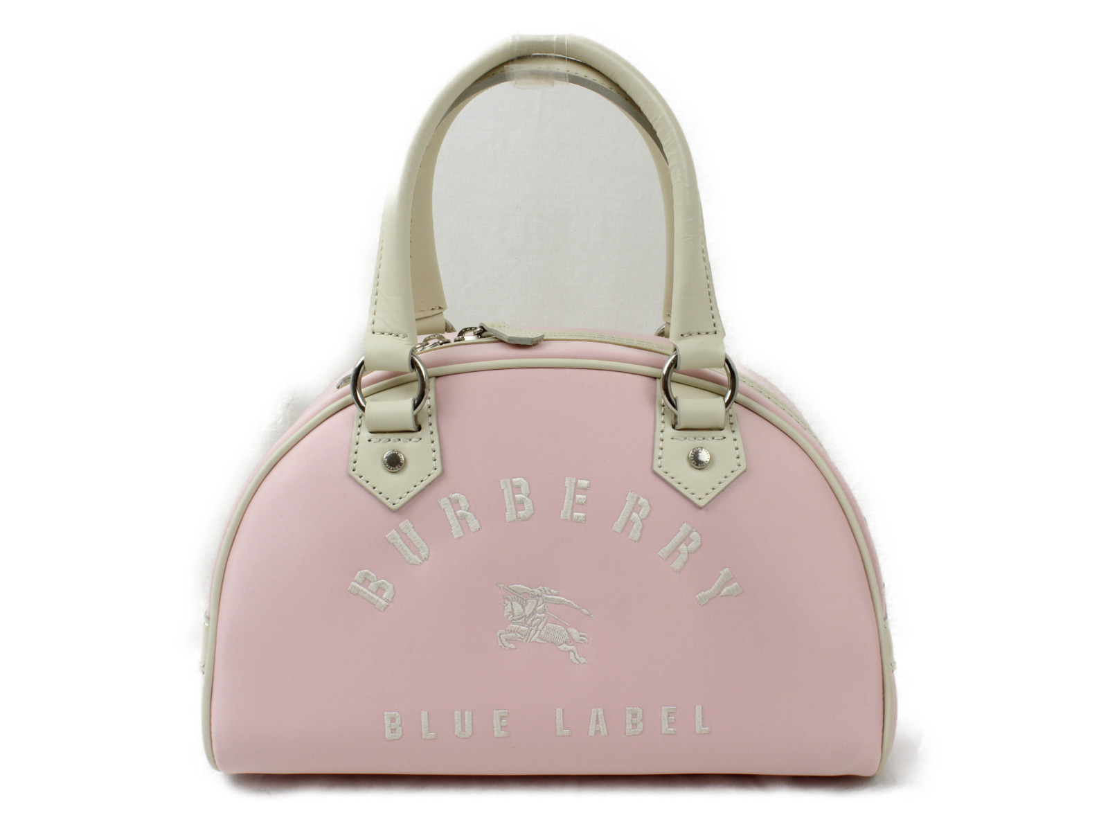 BURBERRY バーバリーミニボストンバッグ BLUE LABELハンドバッグ ピンク/白 ナイロン/レザープレゼント包装可 【中古】