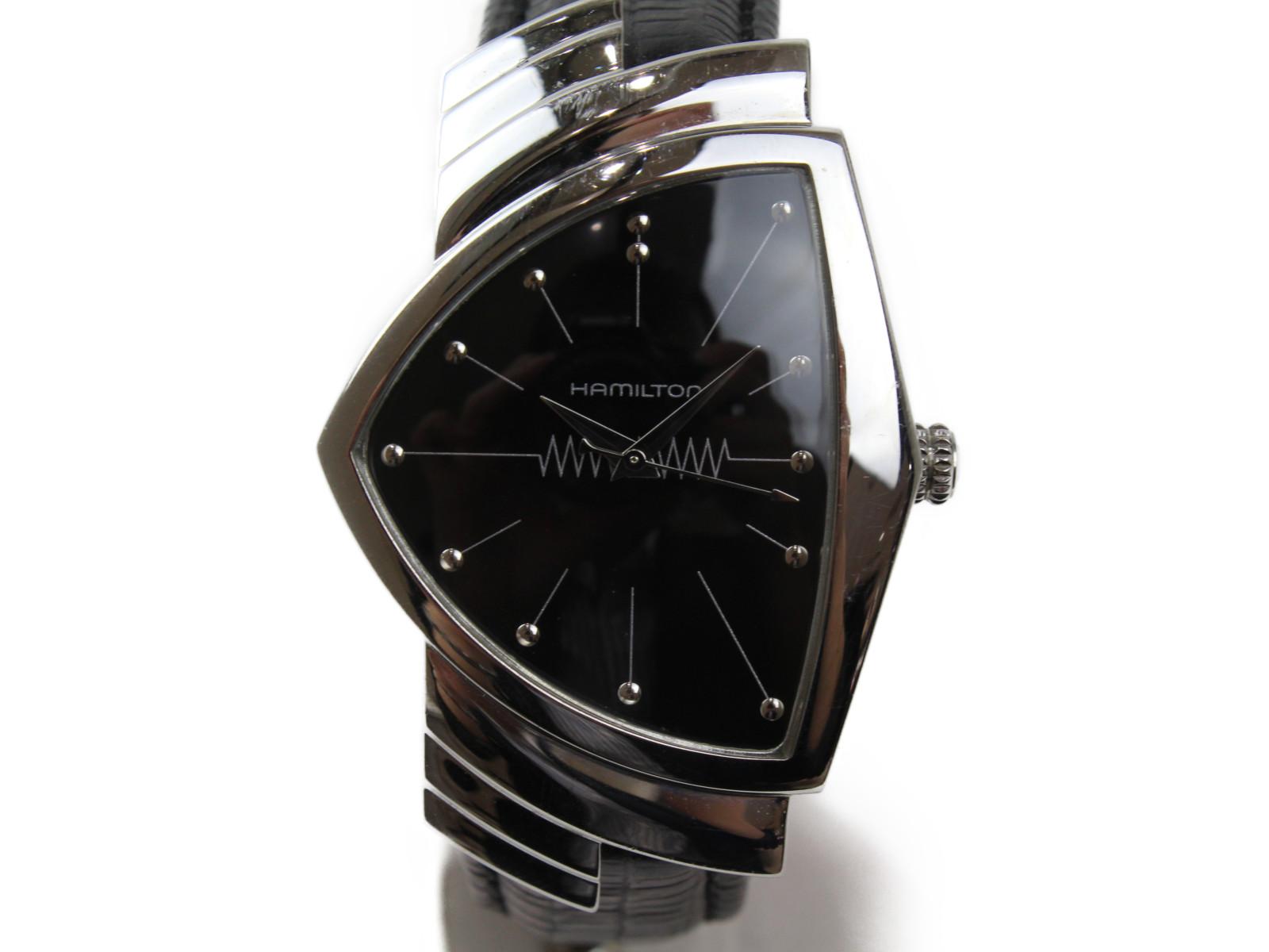 HAMILTON ハミルトン ベンチュラ H244110 クオーツ SS ステンレススチール 革ベルト 三角 黒 メンズ レディース ボーイズ 腕時計【中古】