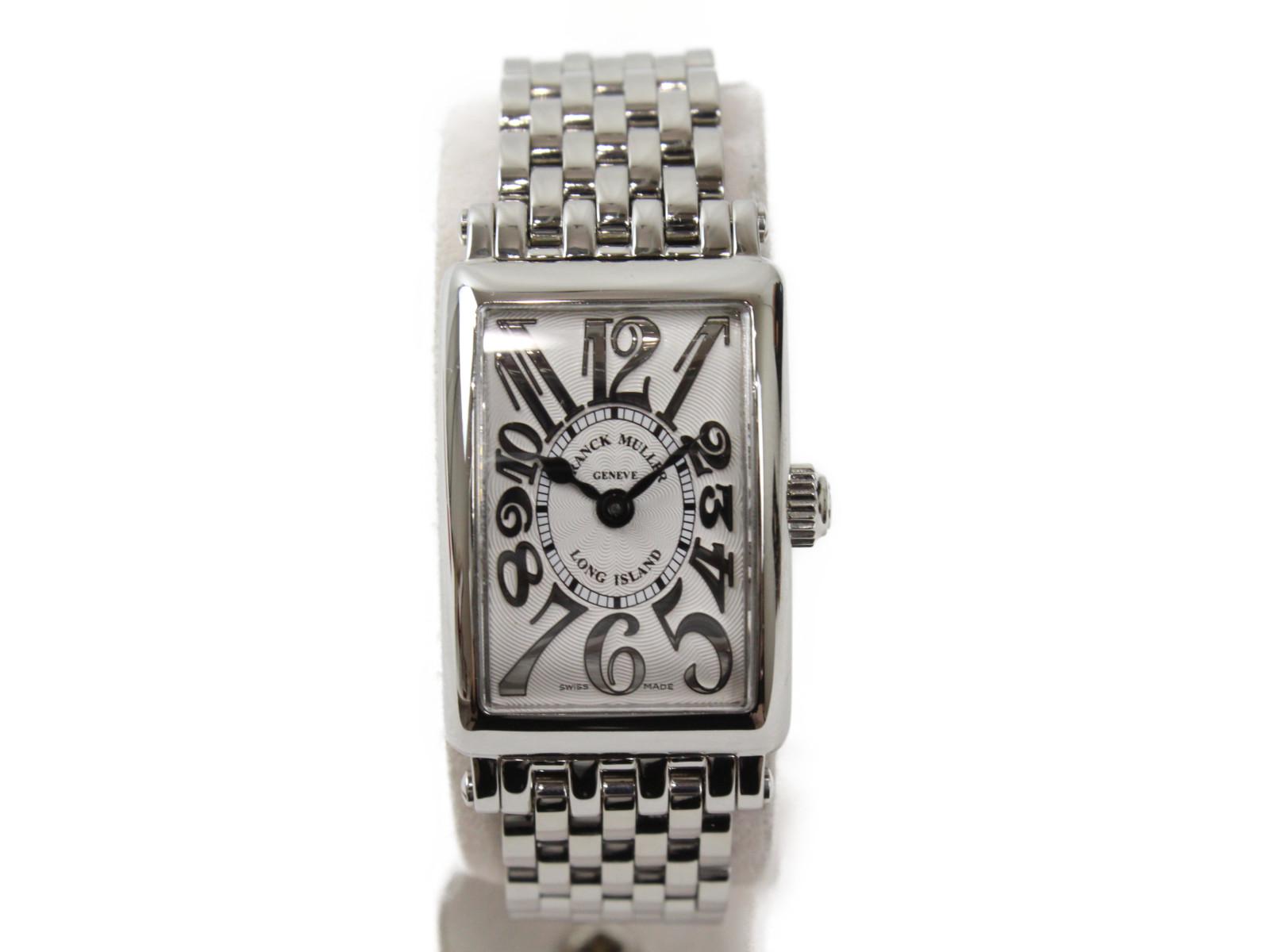 【ギャラ有】FRANCK MULLER フランクミューラー ロングアイランド プティ 802QZ クオーツ SS ステンレススチール シルバー オフホワイト レディース 腕時計【中古】