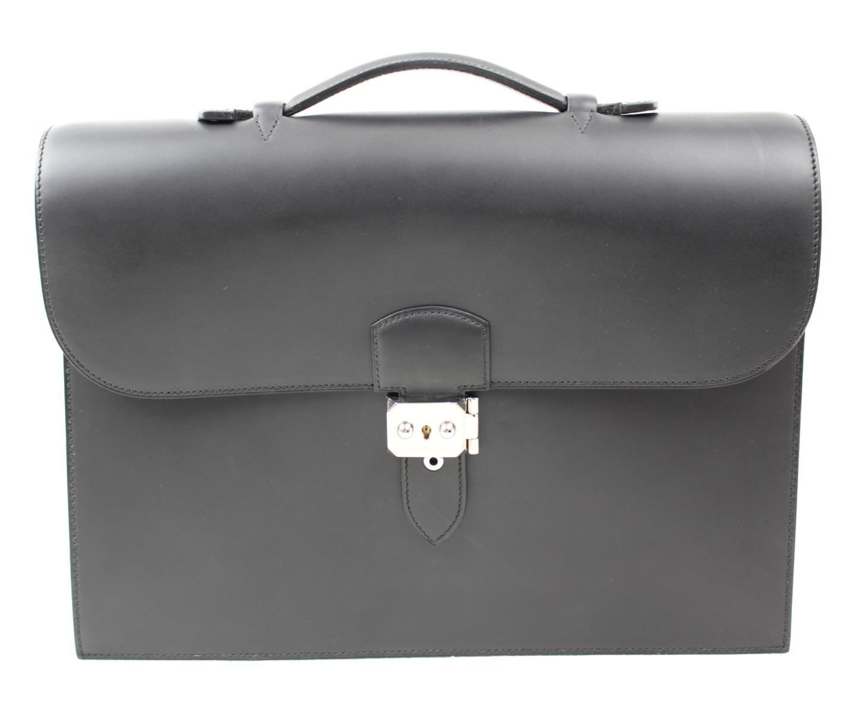 HERMES エルメス サックアデベッシュ35 ブラック シルバー金具 ビジネスバッグ 【中古】