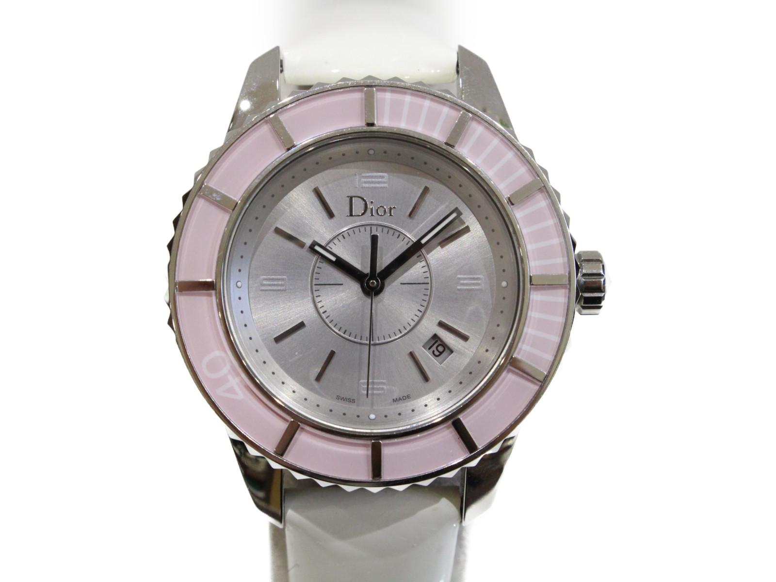 【ギャラ有】DIOR クリスタル CD113114 クオーツ SS ステンレススチール エナメルベルト 50m防水 ピンク シルバー レディース 腕時計【中古】