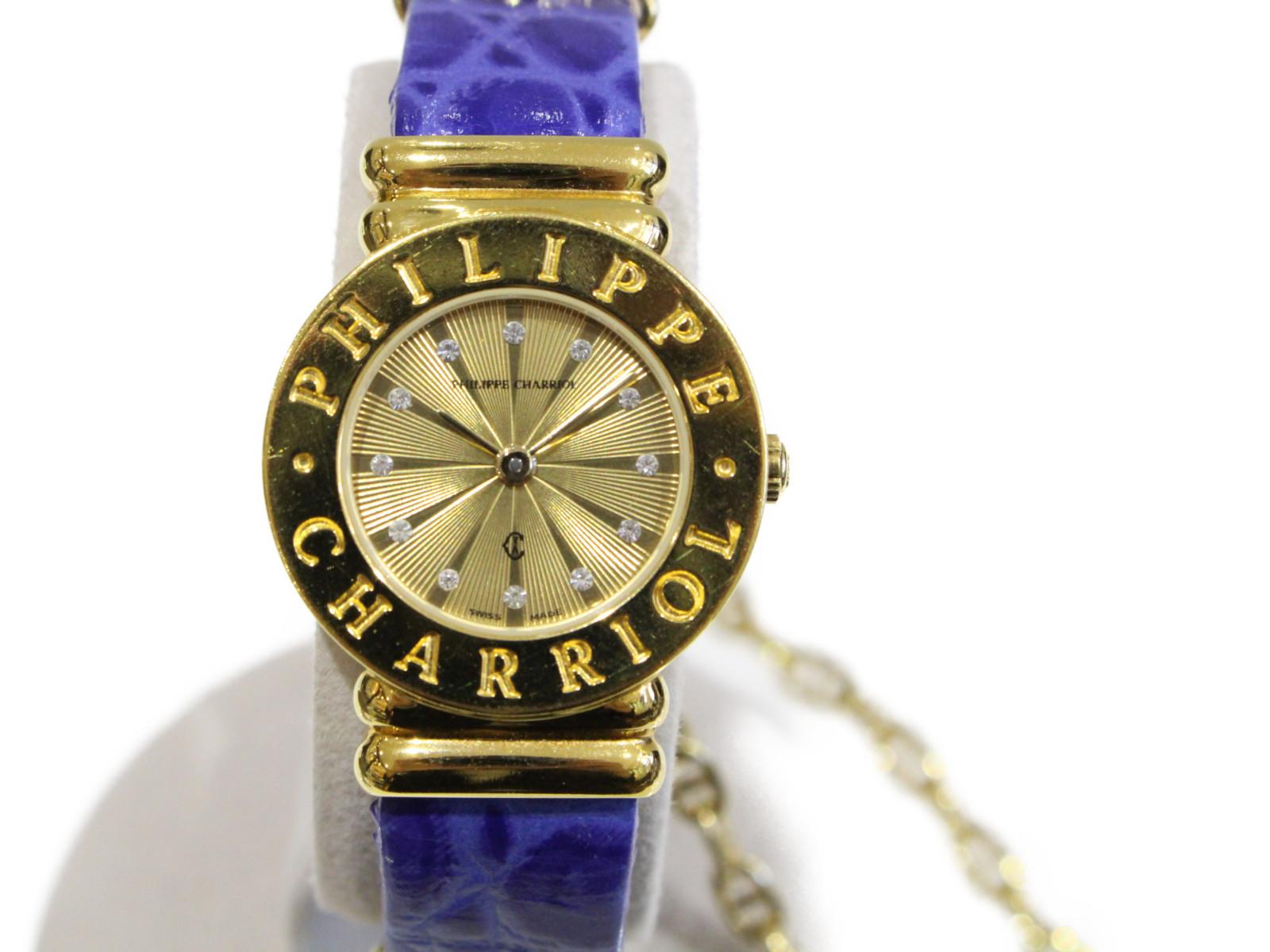 PHILIPPE CHARRIOL フィリップ シャリオール サントロペ 7007901 クオーツ SS ステンレススチール イエローゴールド レザーベルト ブルー  レディース 腕時計【中古】