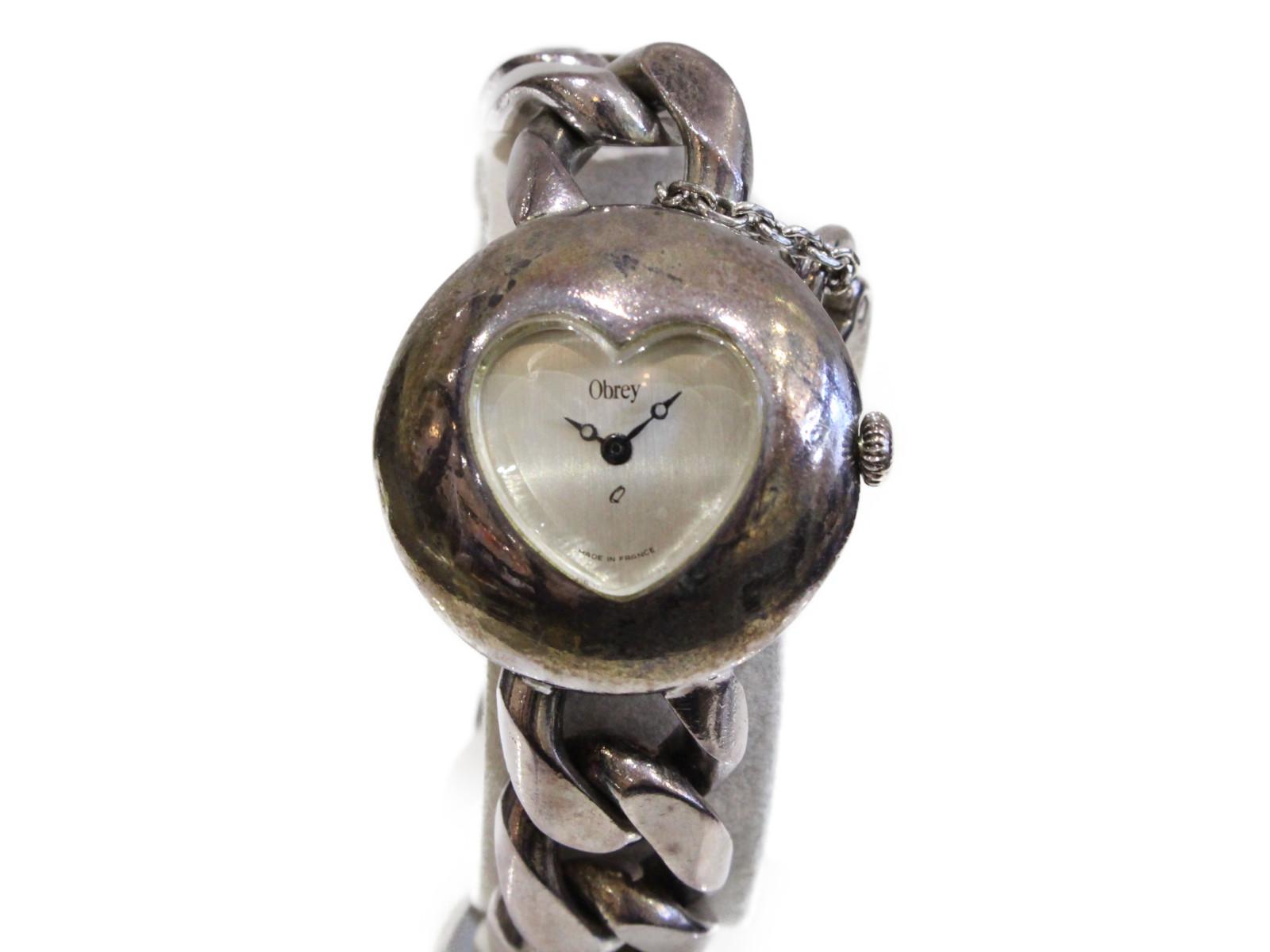 【販売証明書付】Obrey オブレイ シルバー ハート レディース 腕時計【中古】