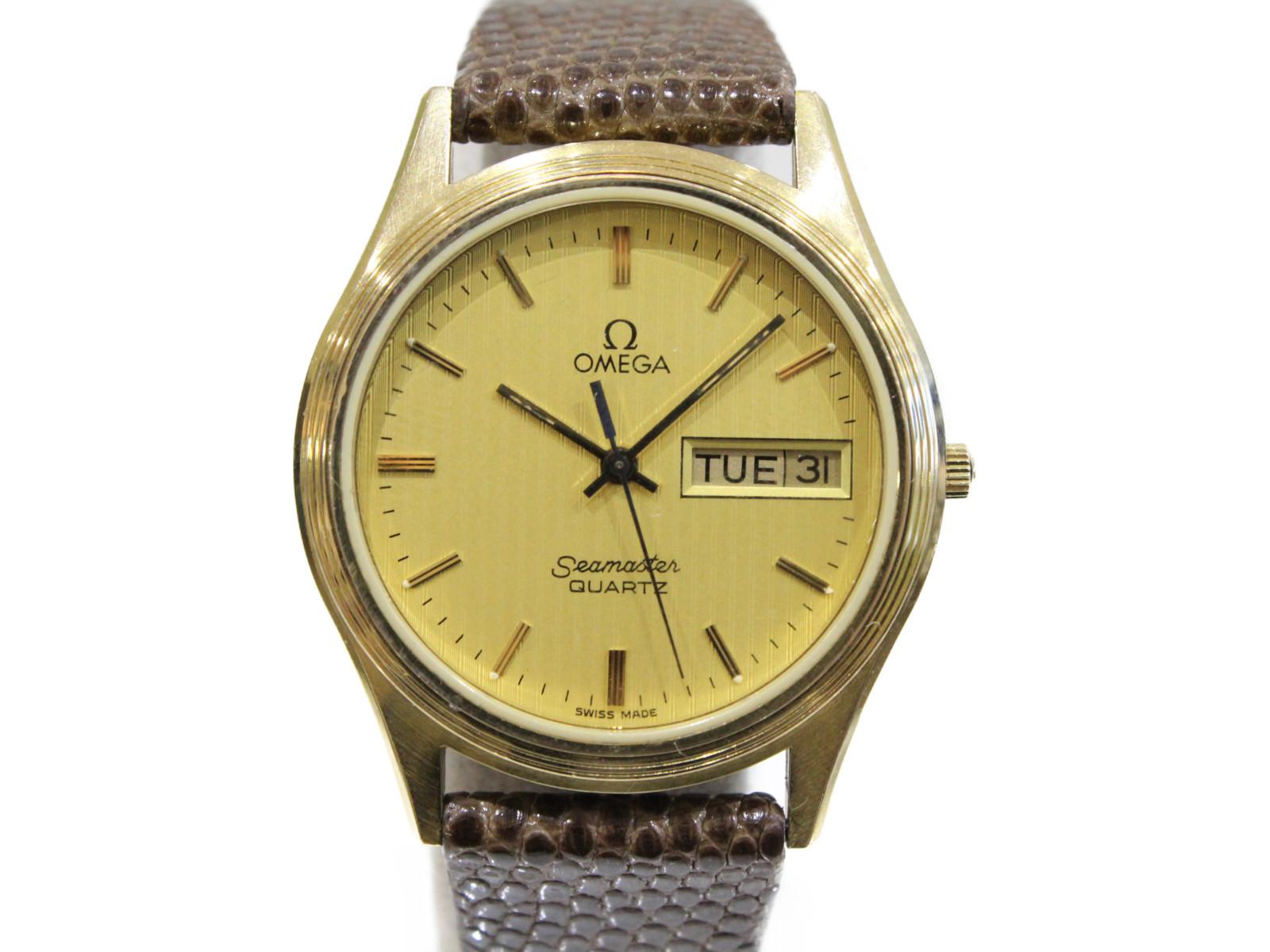 ファッション 【アンティーク】OMEGA オメガ シーマスター デイデイト クオーツ イエローゴールド 革ベルト ゴールド ブラウン メンズ 腕時計【】, タケトヨチョウ a7a2f5f7