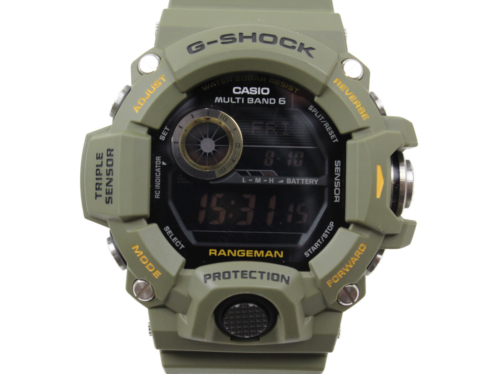 【レンジマン】CASIO G-SHOCK レンジマン GW-9400J-3JF デジタル ラバー カーキ メンズ 腕時計 ギフト プレゼント 包装無料【中古】