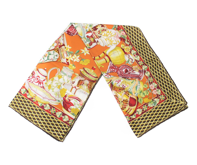 Gucci グッチ GG 陶器モチーフスカーフ ストール 食器 オレンジ系 シルク100% サイズ 約86cm メンズ レディース ウィメンズ ユニセックス ブランド【中古】