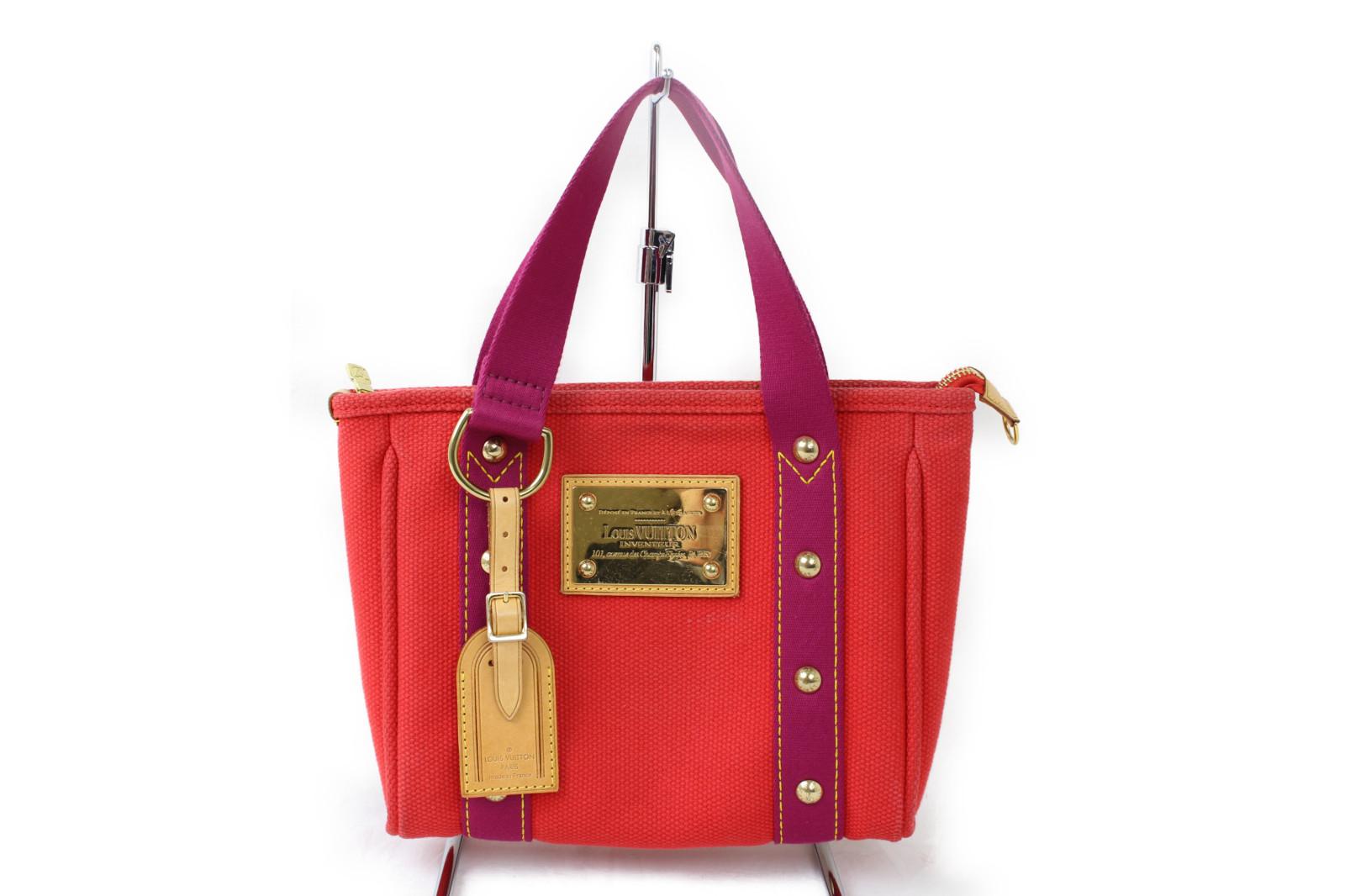 【☆レア商品☆】LOUIS VUITTON ルイヴィトンカバPM M40037アンティグアライン 赤 キャンバスハンドバッグ プレゼント包装可【中古】