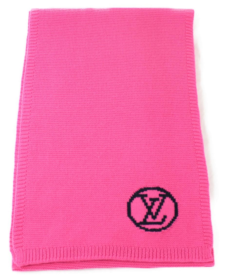 LOUIS VUITTON ルイヴィトン エシャルプLV ストール マフラー M71136 サイズ 約181cm ピンク系 ブラック ウール100% レディース メンズ ウィメンズ ユニセックス ブランド【中古】