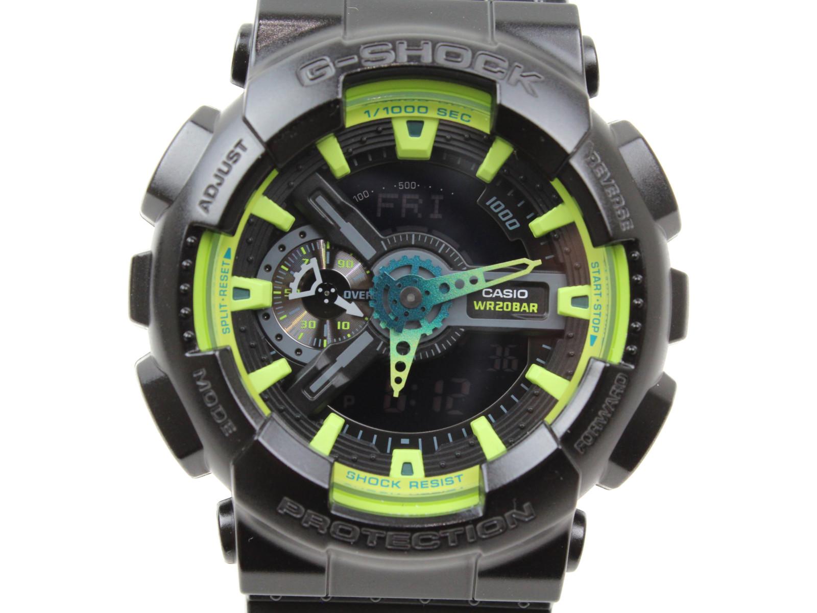 【ベーシック】CASIO カシオ G-SHOCK ジーショック GA-110LY-1AJF アナログ デジタル ラバー ブラック 黄緑 メンズ 腕時計 ギフト プレゼント 包装無料【中古】