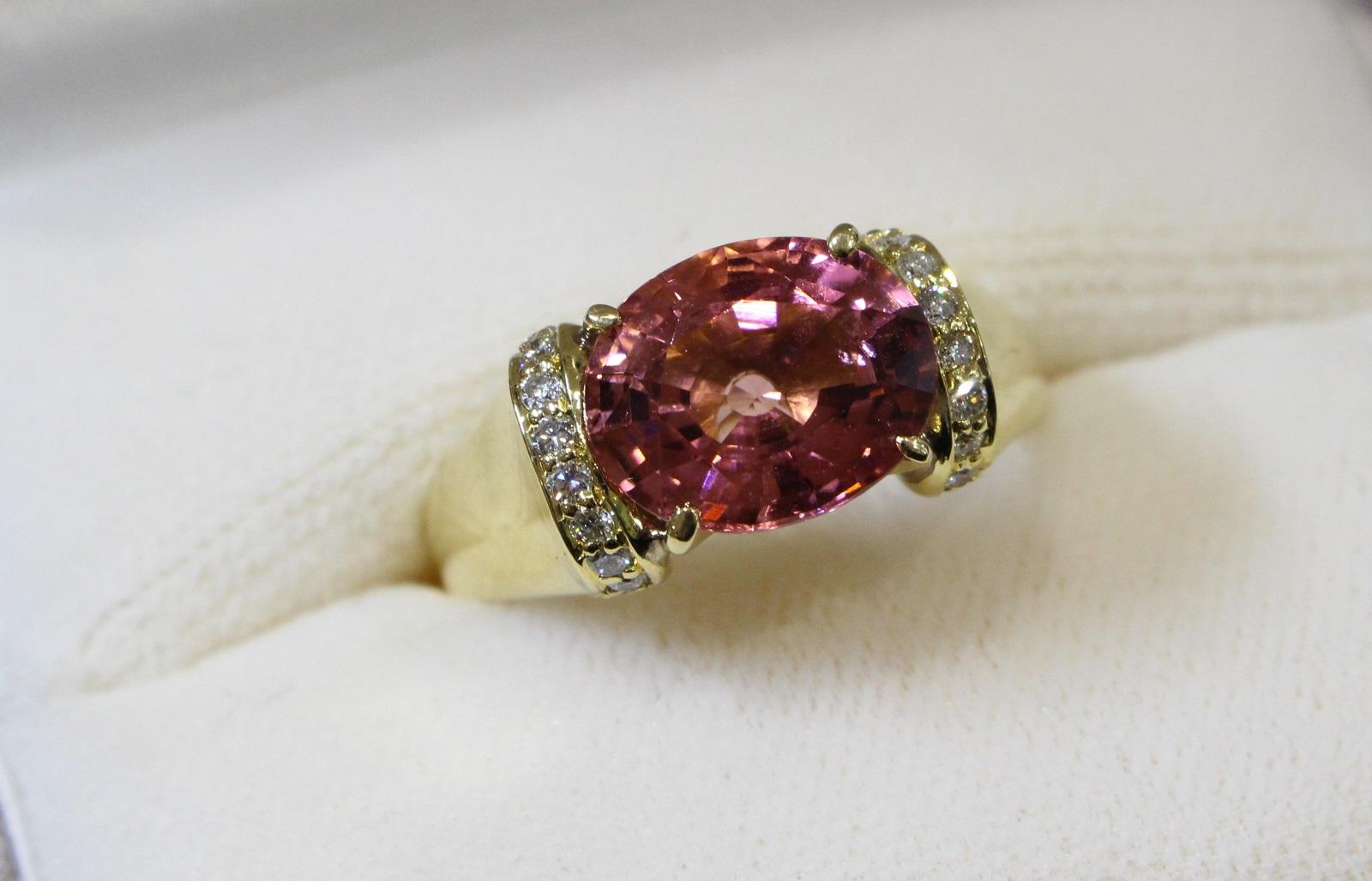 【☆新品仕上げ済☆】ピンク石リングK18 ダイヤモンド0.23ct ピンク石4.12ct9.4g 16.5号 カワイイ 高級レディース ギフト包装可【中古】