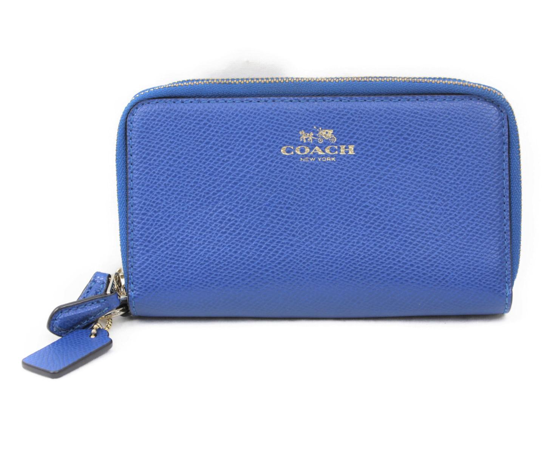 COACH コーチ Wジップ財布 二つ折り 折りたたみ ファスナー ジッピー F53141 ブルー系 メンズ レディース ウィメンズ ユニセックス ブランド かわいい 便利【中古】