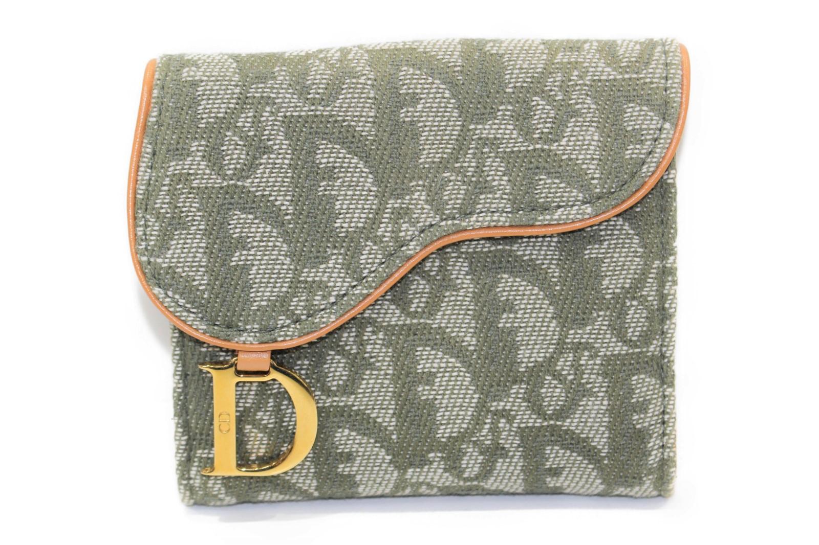 Christian Dior ディオール C.DIOR トロッター Wホック財布 折りたたみ 二つ折り ボタン グリーン系 デニム キャンバス レザー レディース 女性 大人 【中古】