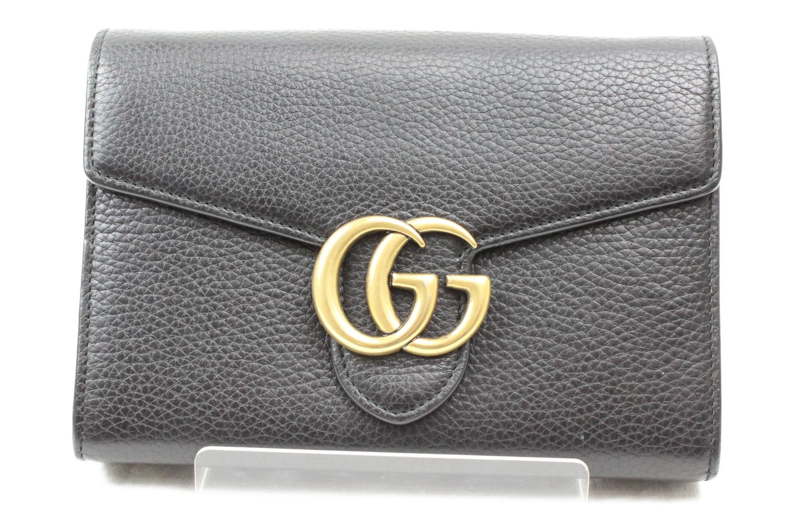 a1a599c87406 GUCCI グッチGGマーモント チェーンウォレット 401232ブラック レザー 財布シンプル 斜め掛け プレゼント包装可
