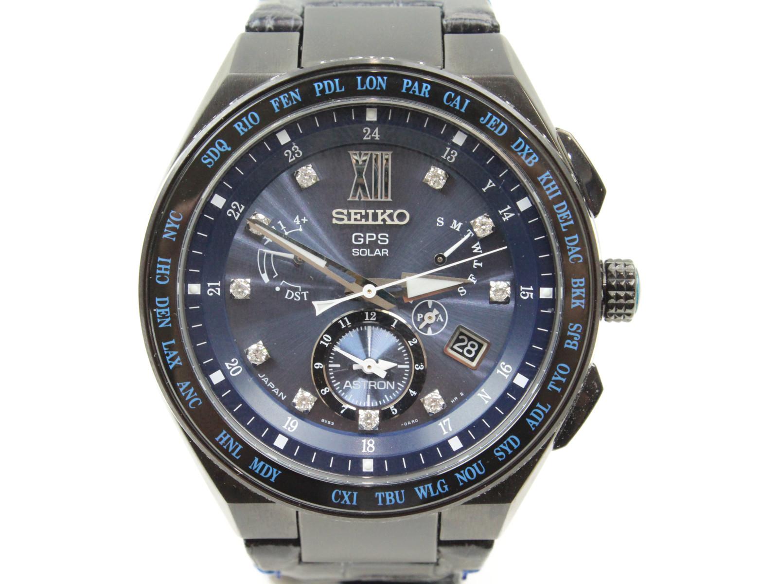 【500本限定モデル】SEIKO アストロン SBXB157 ダイヤモンド ソーラーGPS チタン 革ベルト ブラック ブルー メンズ腕時計【中古】