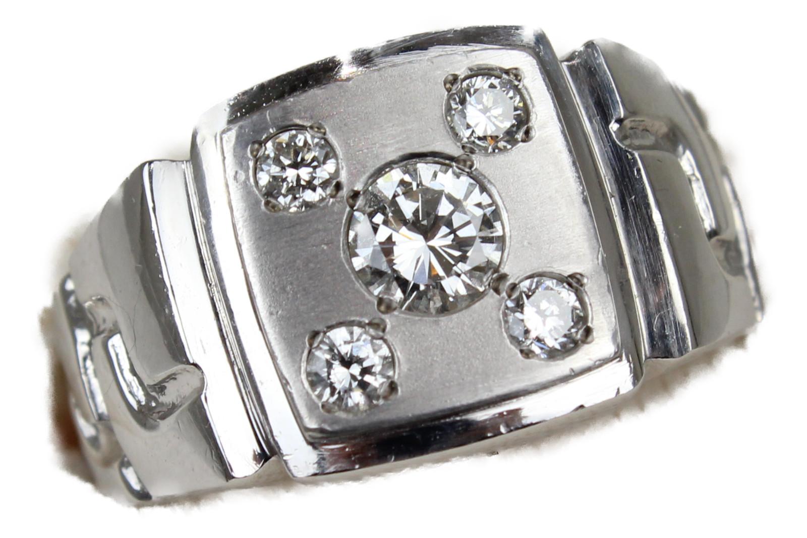 【☆新品仕上げ済☆】サイコロ5印台リングPt900 ダイヤモンド0.367ct/0.27ct22.5g 22.5号 高級 レアギフト包装可 【中古】