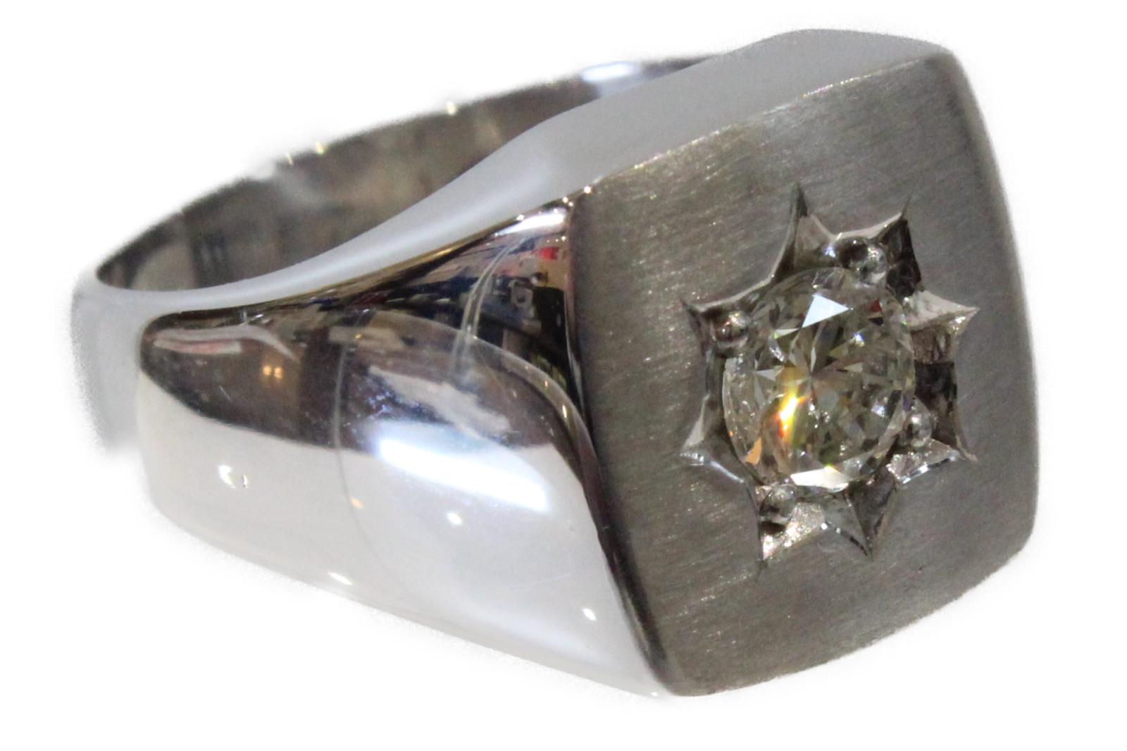 【☆新品仕上げ済☆】印台リングPt850 ダイヤモンド0.9ct21.3g 18号 大きめ高級 ギフト包装可【中古】