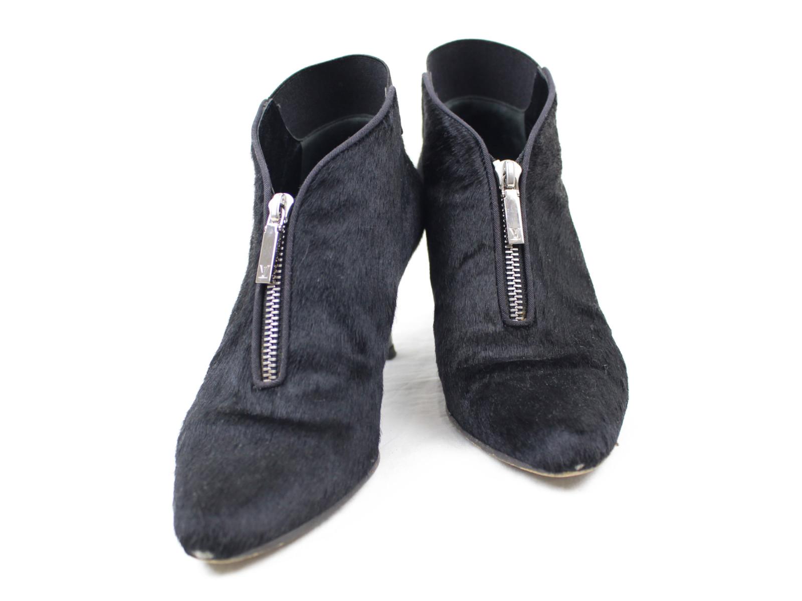 サイズ35 1/2 約22.5cmLOUIS VUITTON ブーティ   ブラック×シルバー金具   レディース ウィメンズ ユニセックス ブランド ブーツ 靴 シンプル オシャレ デザイン かっこいい 大人【中古】