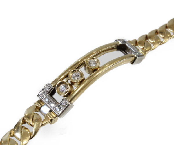 ダイヤモンドブレスレットダイヤモンド0.61ct K18/Pt850コンビ 50.2g 20cm動くダイヤモンド プレゼント包装可【中古】