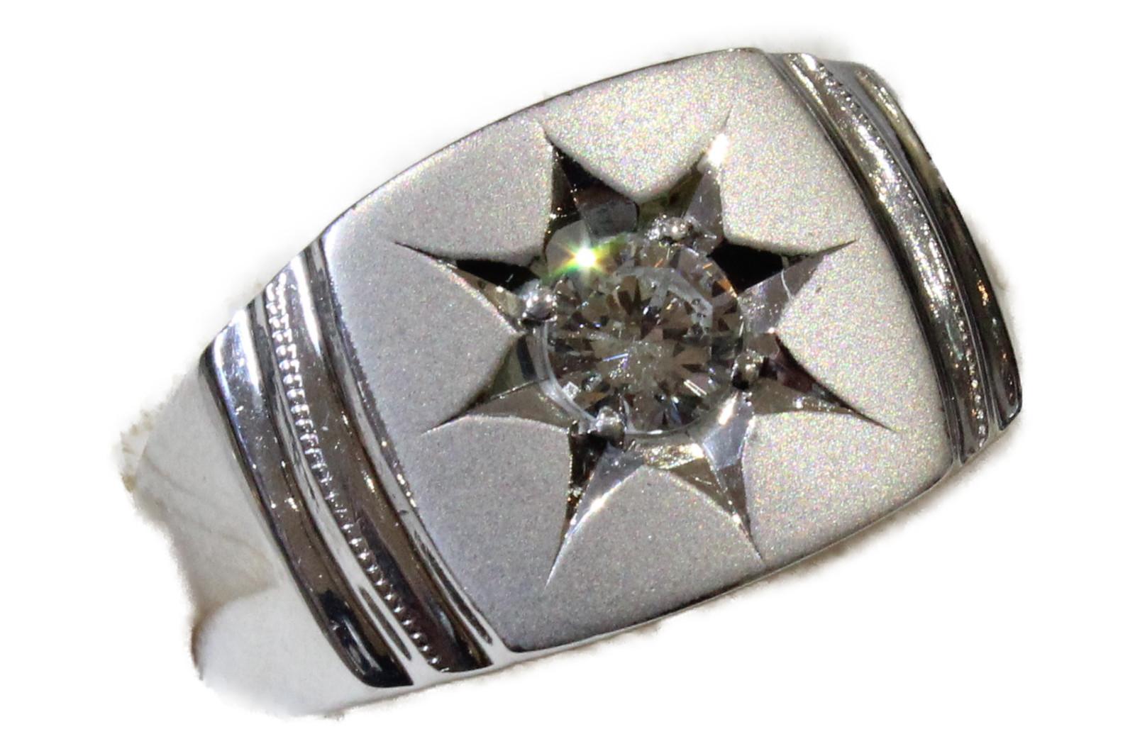 【☆新品仕上げ済☆】印台リングダイヤモンド0..50ct Pt90024.8g 19号 高級ギフト包装可 【中古】
