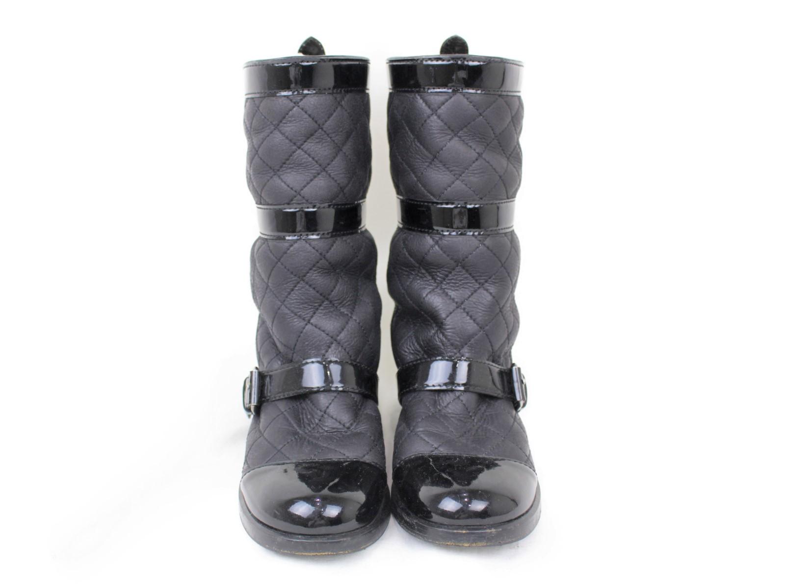 975c94a2e540 ... CHANELシャネルマトラッセブーツブラック系レザー×エナメルレディースウィメンズユニセックスブランド靴ヒール ...