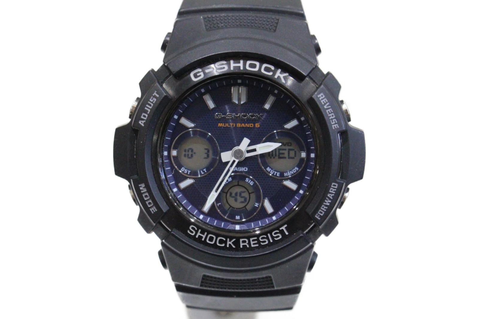 CASIO カシオ G-SHOCK ジーショック ベーシック AWG-M100SB-2AJF デジタル アナログ ラバー ブラック ブルー メンズ 腕時計【中古】