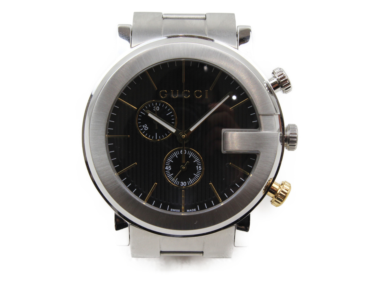 GUCCI グッチ Gクロノ YA101362 クオーツ クロノグラフ SS ステンレススチール ブラック メンズ 腕時計【中古】