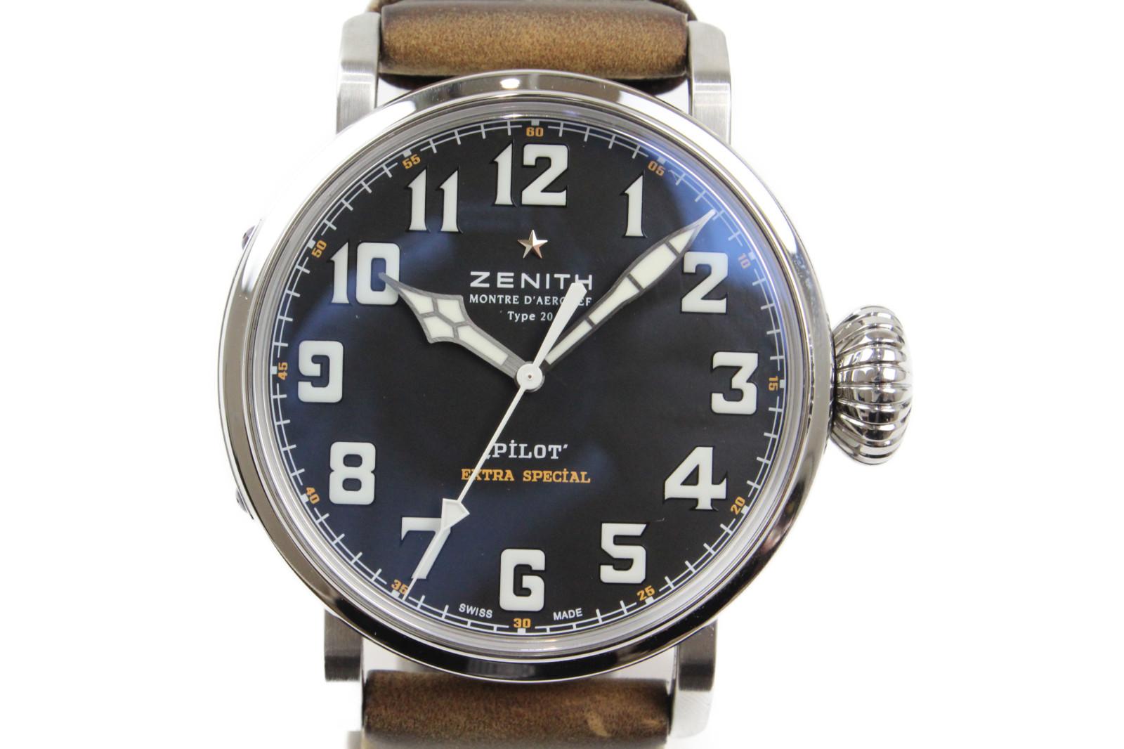 【ギャラ有】ZENITH ゼニス パイロット アエロネフ タイプ20 エクストラ スペシャル 03.2430.3000/21.C738 自動巻き SS ステンレススチール 革ベルト ブラック メンズ 腕時計【中古】