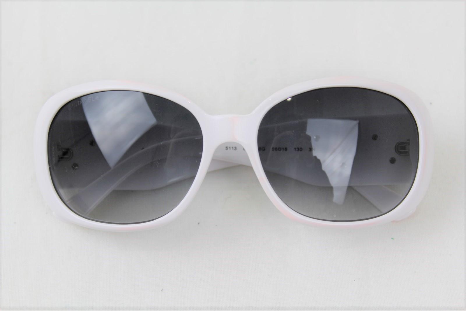 【ケースあり】 CHANEL シャネル カメリアサングラス5113 C.716/8G ホワイト×ブラック プラスチック レディース ウィメンズ ユニセックス ブランド 大人 眼鏡 ココマーク かわいい おしゃれ 【中古】