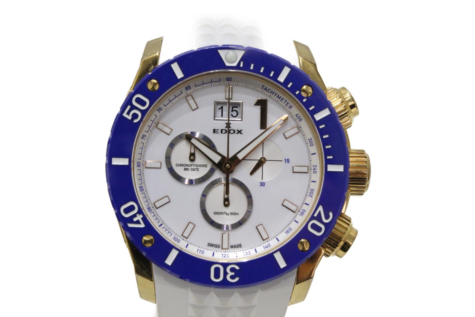 【10周年記念215本限定モデル】EDOX エドックス クロノオフショア1 10020-37RBU-BIR クオーツ デイト クロノグラフ ラバーベルト ホワイト ゴールド ブルー メンズ 腕時計【中古】