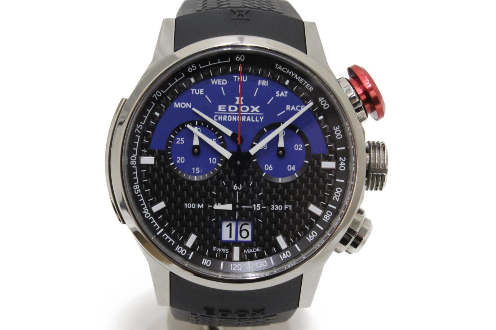 【世界500本限定】EDOX エドックス クロノラリー リミテッドエディション ザウバーF1チーム 38001-TIN1-NBUJ クオーツ デイト クロノグラフ SS ステンレススチール ラバーベルト メンズ 腕時計【中古】
