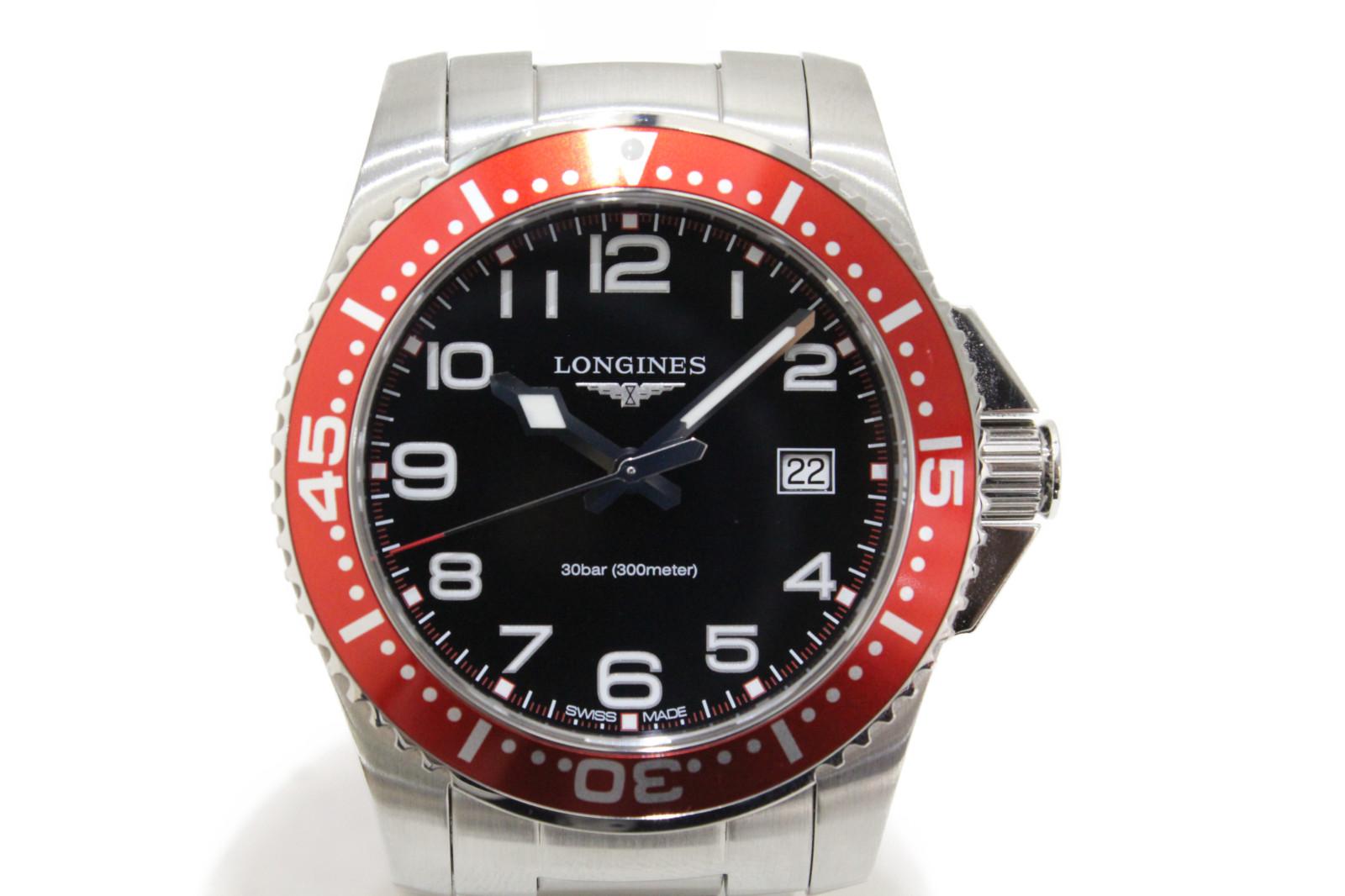 【ギャラ有】LONGINES ロンジン ハイドロコンクエスト L3.689.4.59.6 クオーツ デイト 300m防水 SS ステンレススチール ブラック レッド メンズ 腕時計【中古】