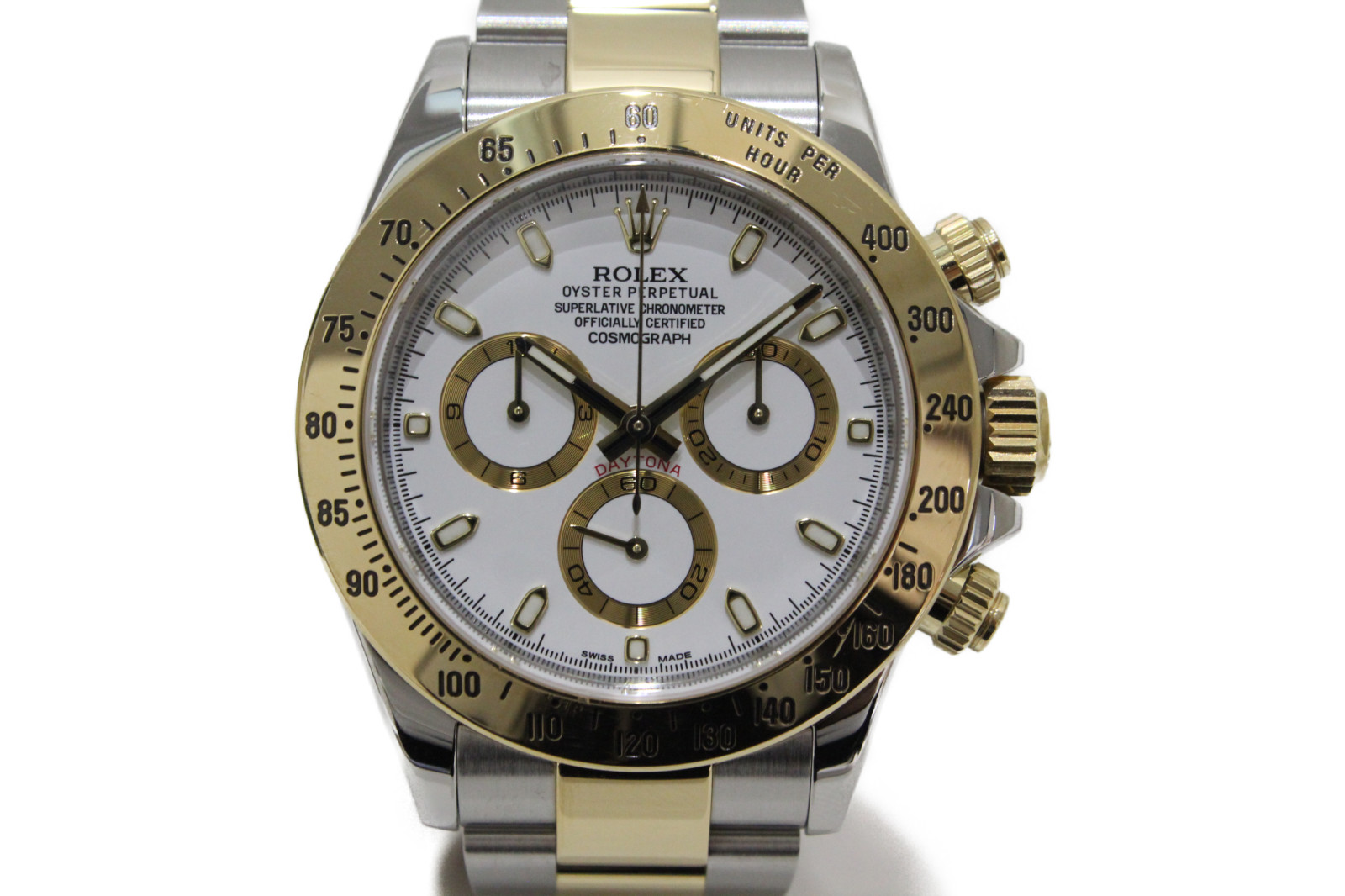 【OH済】ROLEX ロレックス デイトナ 116523 自動巻き クロノグラフ K18 イエローゴールド SS ステンレススチール コンビ ホワイト メンズ 腕時計【中古】