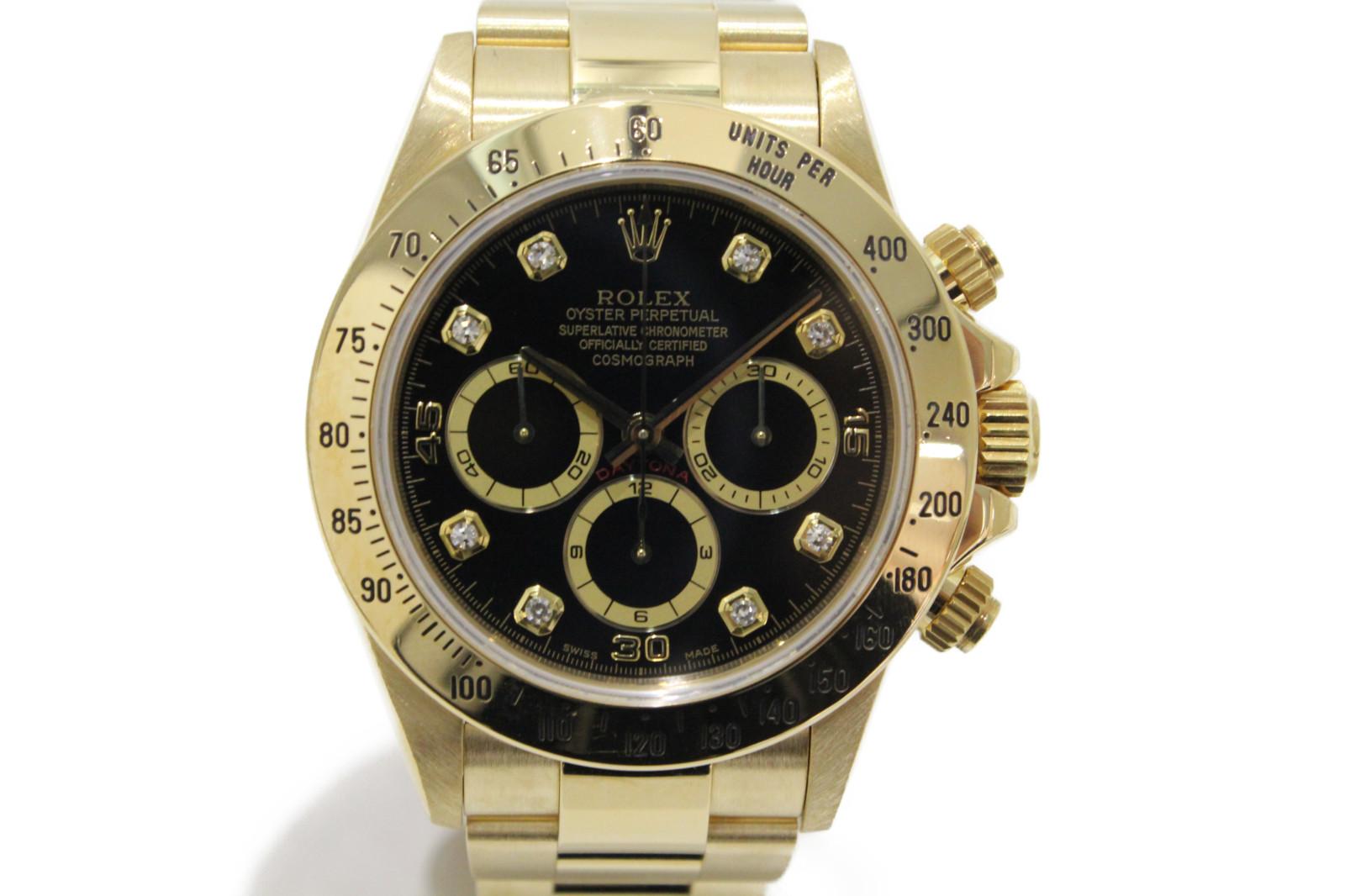 【OH済】ROLEX ロレックス デイトナ 16528G 自動巻き クロノグラフ ダイヤモンド K18 イエローゴールド 金無垢 ブラック メンズ 腕時計【中古】