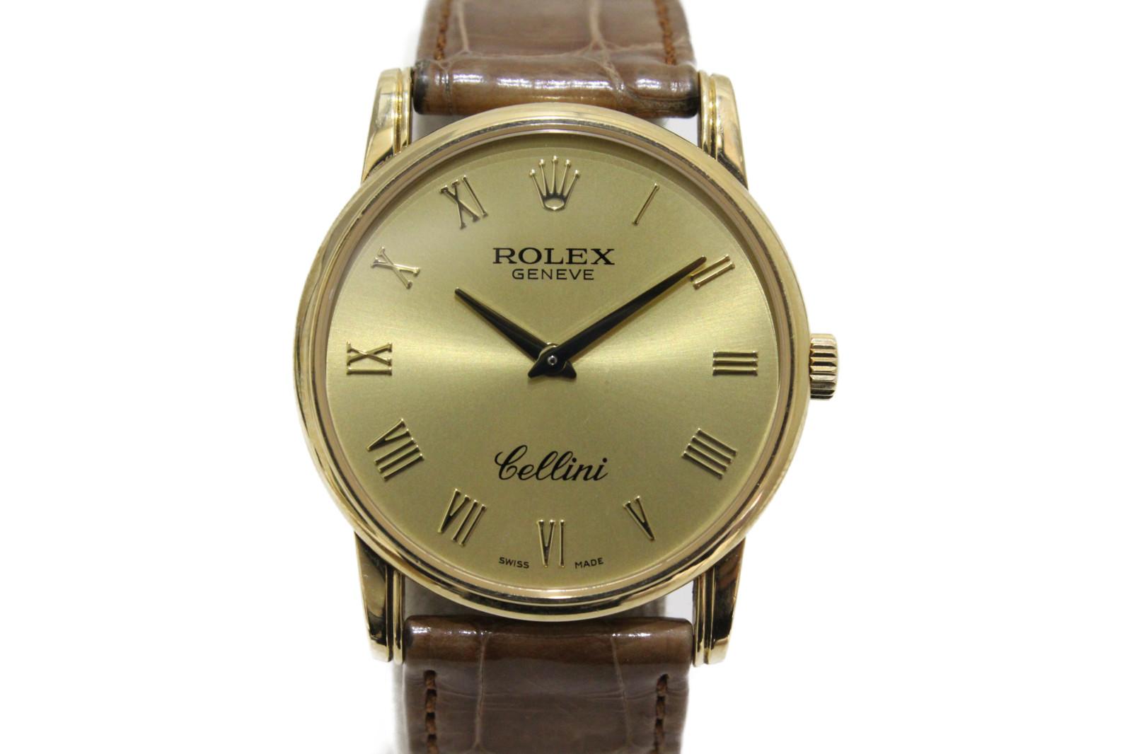 【ギャラ有】ROLEX ロレックス チェリーニ クラシック 5116/8 D番 手巻き 750 K18 イエローゴールド クロコベルト ゴールド メンズ 腕時計【中古】