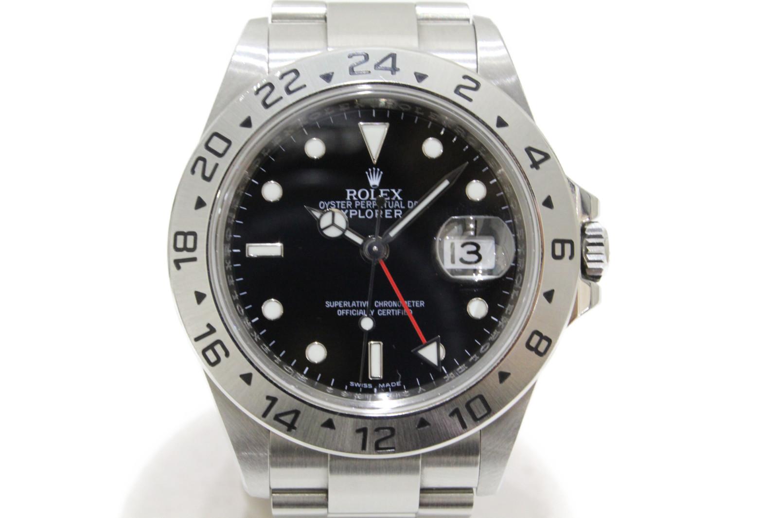 【生産終了モデル】ROLEX ロレックス エクスプローラーII 16570 V番 自動巻き GMT デイト SS ステンレススチール ブラック メンズ 腕時計【中古】