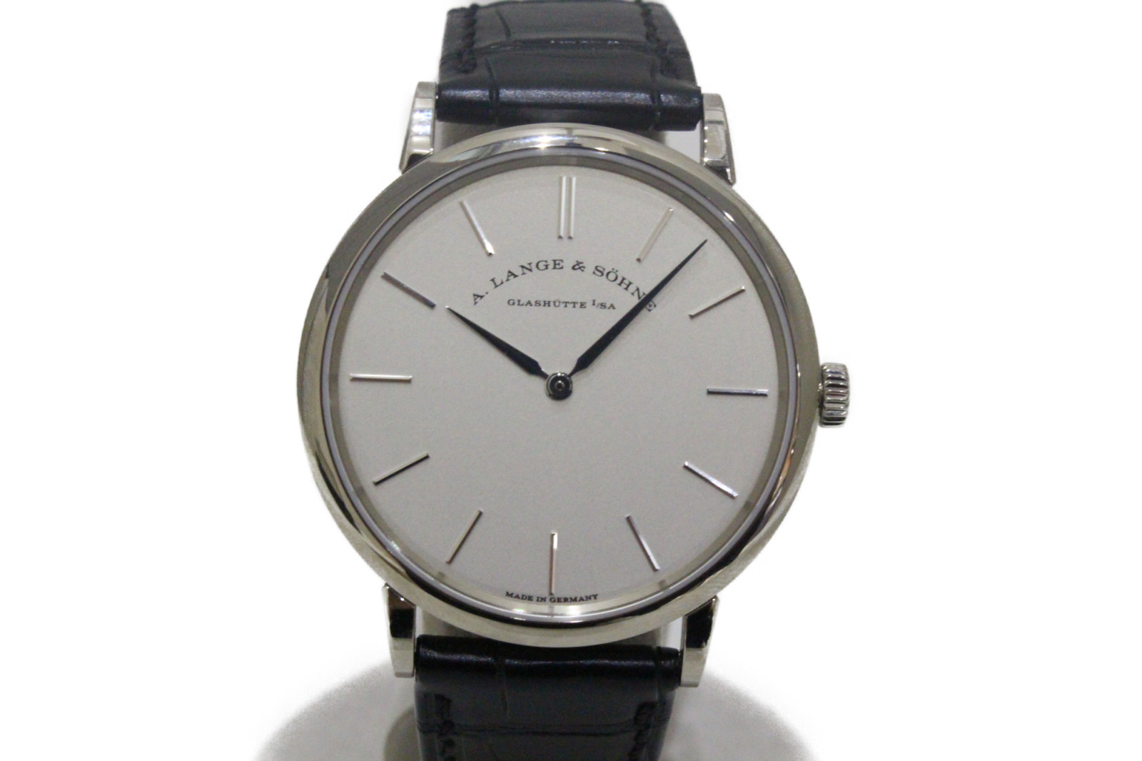 A.LANGE&SOHNE ランゲ&ゾーネ サクソニア 201.027 手巻き K18 ホワイトゴールド アリゲーターベルト ホワイト メンズ 腕時計【中古】