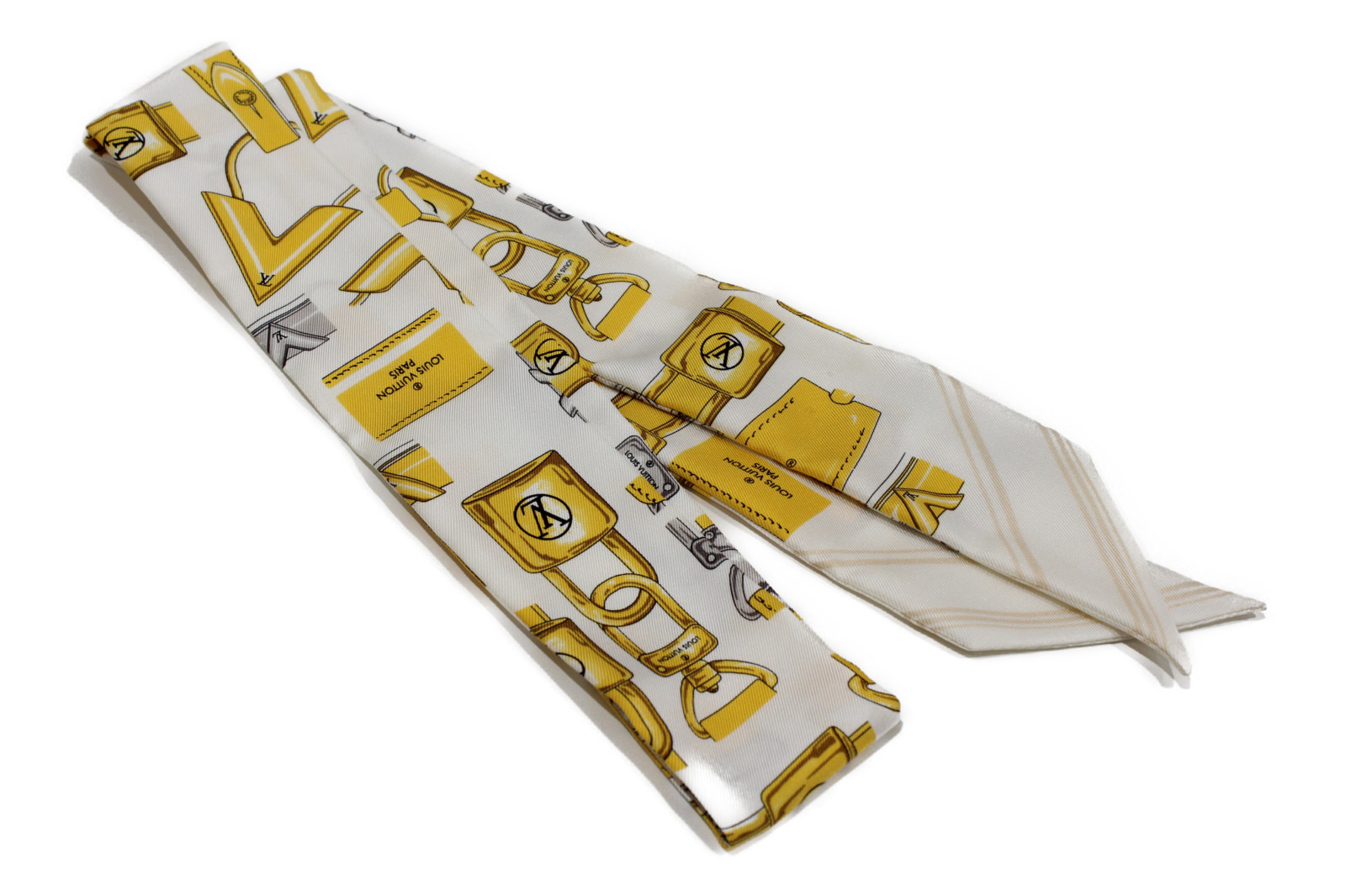 LOUIS VUITTON ルイヴィトン バンド-BBフルオブロックス M78652 スカーフ 鍵 黄色 白 スカーフバッグ レディース【中古】