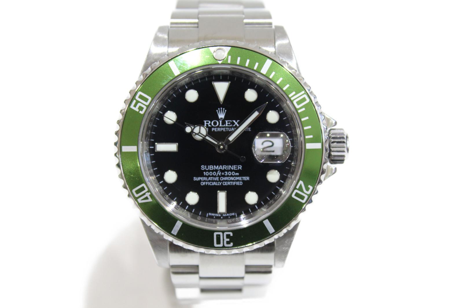 【OH済み】ROLEX ロレックス サブマリーナーデイト 16610LV M番 自動巻き デイト 300M防水 SS ステンレススチール グリーンサブ  緑サブ グリーン ブラック メンズ 腕時計【中古】