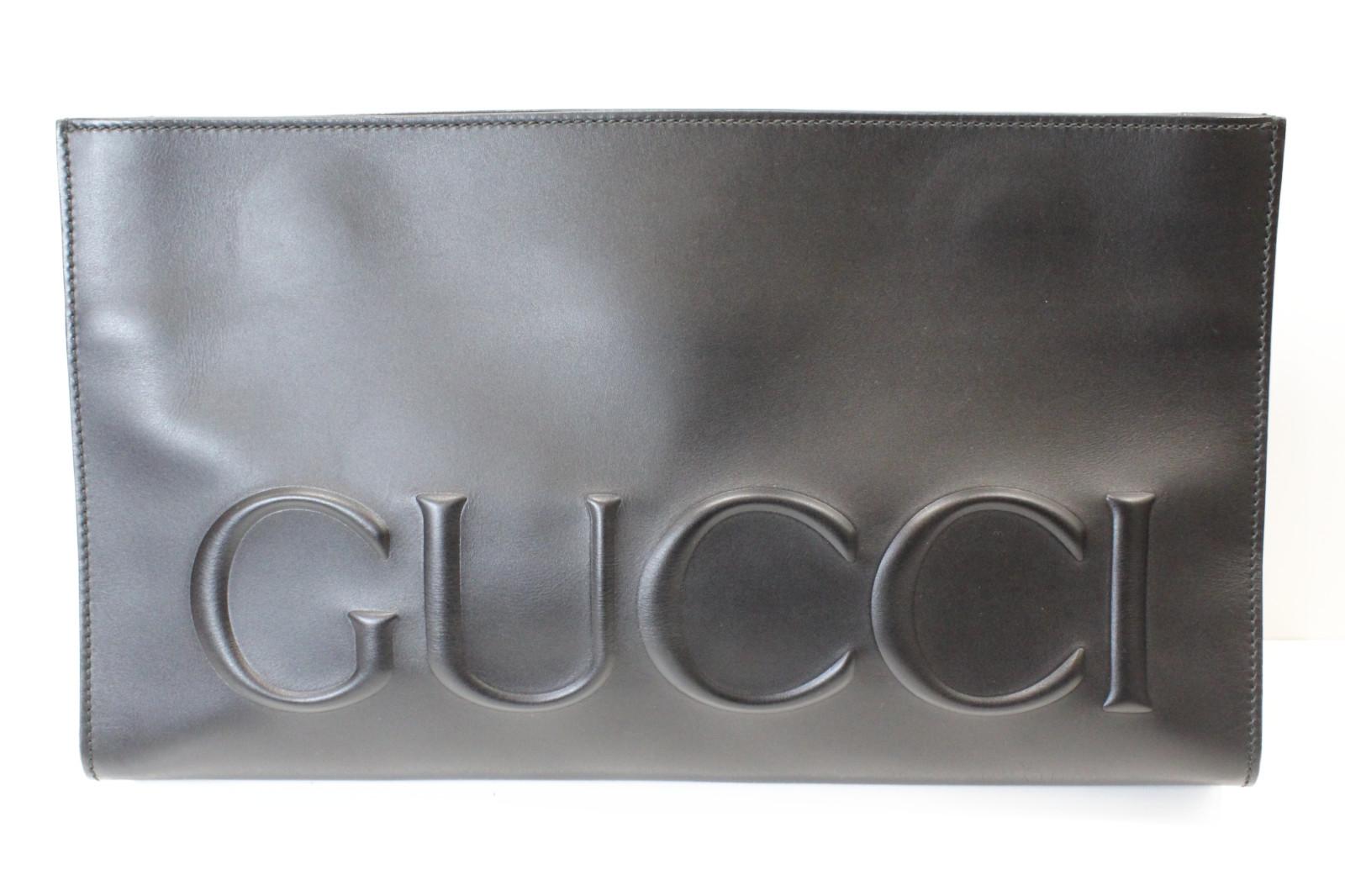 GUCCI グッチレザークラッチXL 409382・467891レザー ブラック セカンドバッグシンプル メンズ プレゼント包装可【中古】
