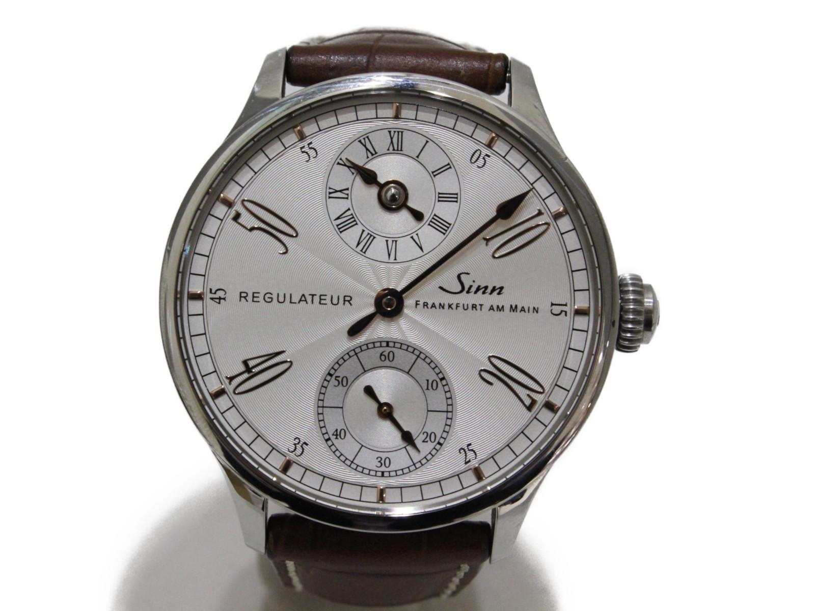 SINN ジン  レギュレーター 6100.Classic.4N 手巻き スモールセコンド SS ステンレススチール 型押しカウレザーストラップ ホワイト ブラウン  メンズ 腕時計【中古】
