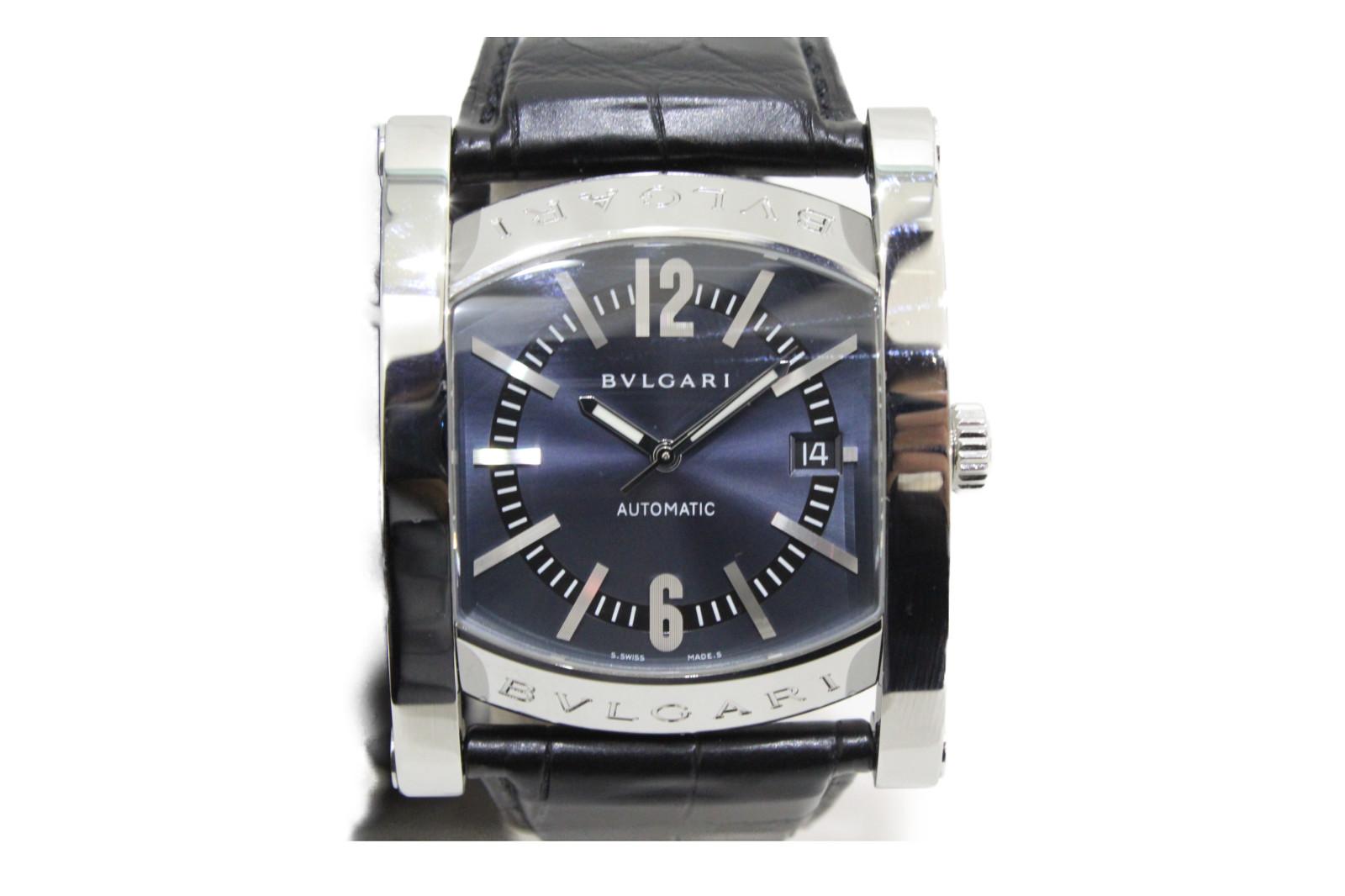 BVLGARI ブルガリ アショーマ AA48S 自動巻き デイト SS ステンレススチール 革ベルト ブルー メンズ 腕時計【中古】