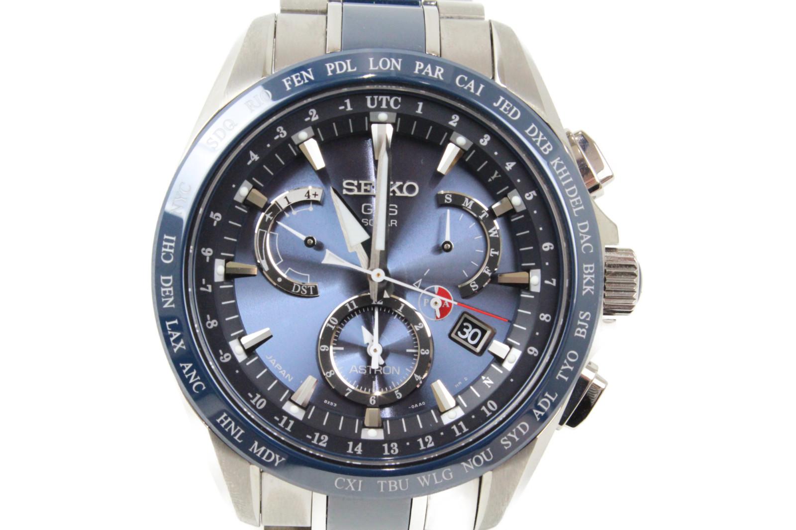 SEIKO セイコー アストロン ソーラーGPS衛星 8X53-0AB0-2 クロノグラフ デイト チタン ブルー メンズ 腕時計【中古】