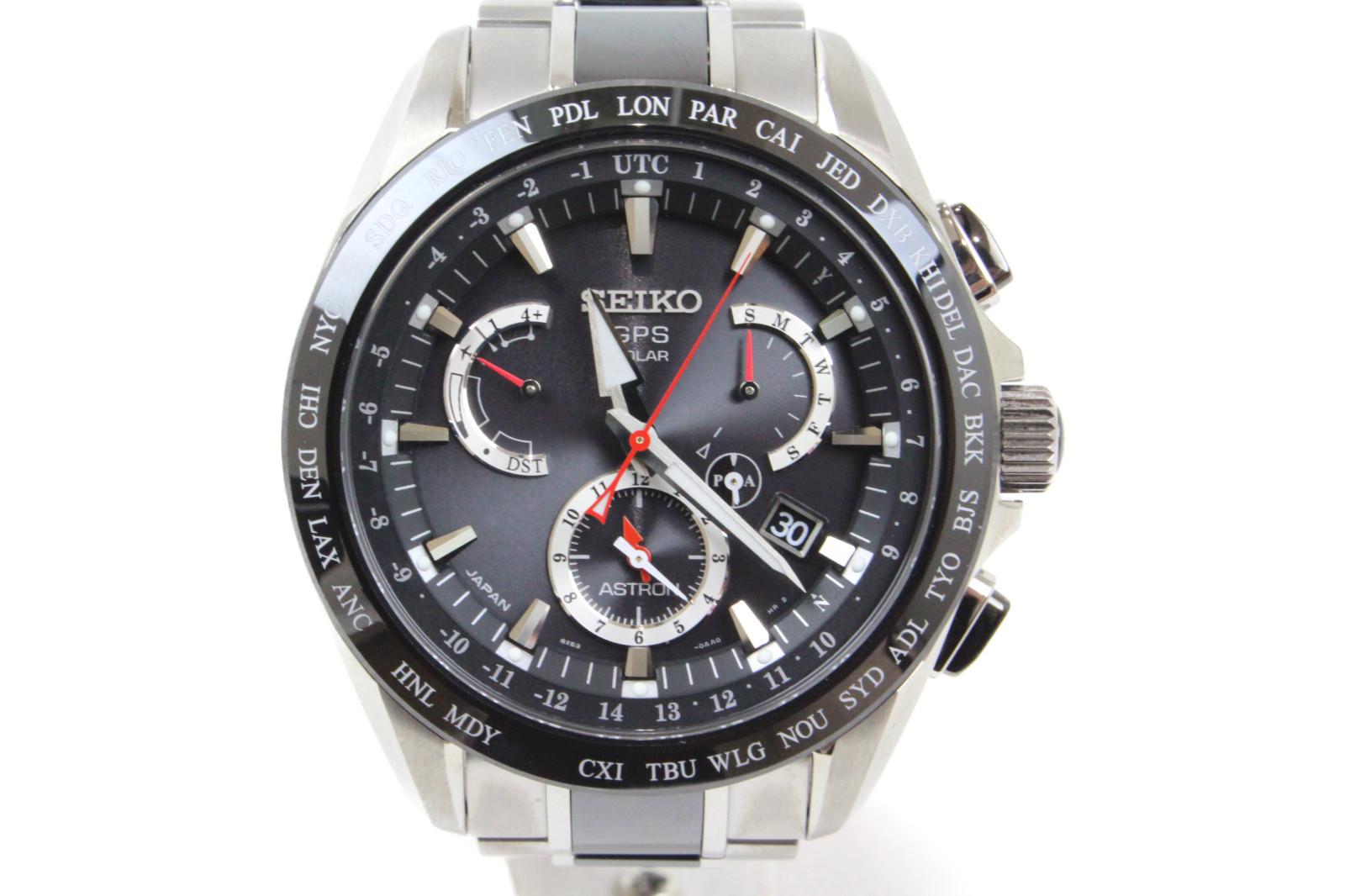 SEIKO セイコー アストロン 8Xシリーズデュアルタイム 8X53-0AB0-2 ソーラーGPS衛星 クロノグラフ デイト チタン ブラック メンズ 腕時計【中古】