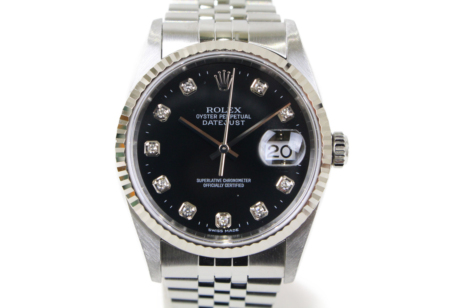 【OH済】ROLEX ロレックス デイトジャスト 16234G K番 自動巻き デイト 10Pダイヤモンド K18WG ホワイトゴールド SS ステンレススチール ブラック メンズ 腕時計【中古】